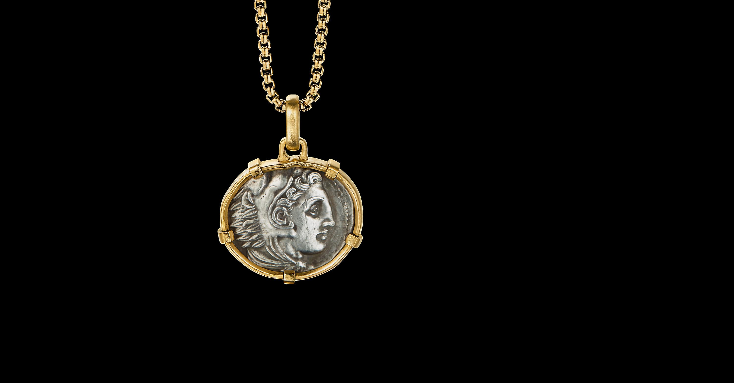 EY SignatureGreek Coin Amuletwith 22K Yellow Gold