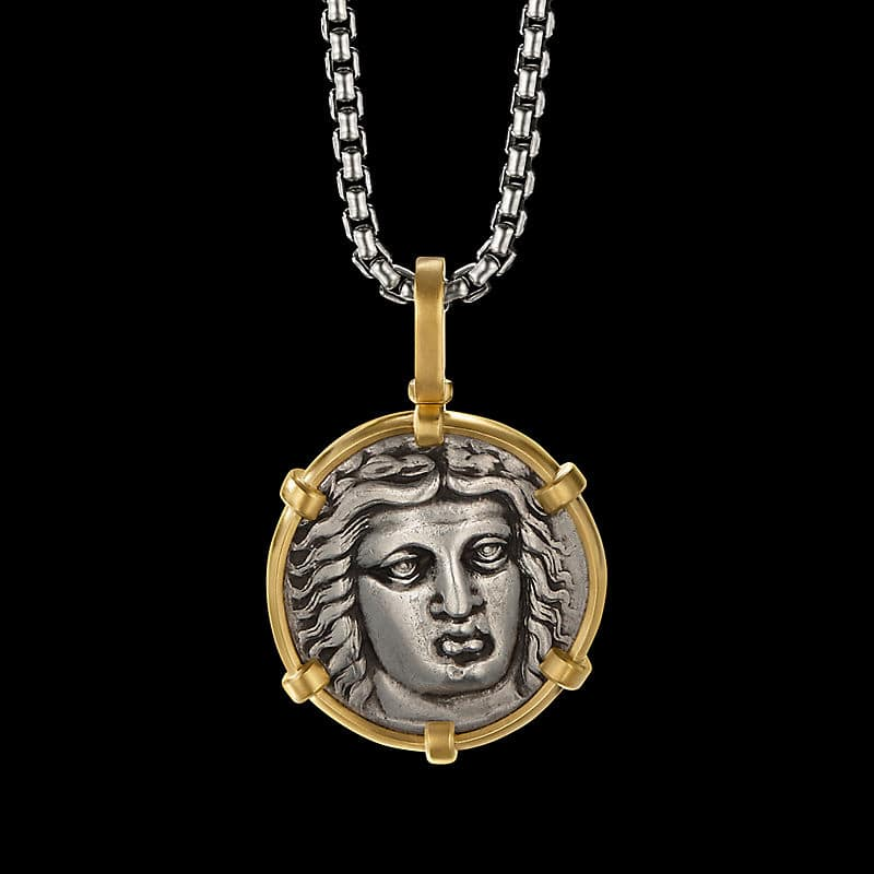 EY® SignatureMaussolosCoin Amulet in Silverwith22K Yellow Gold