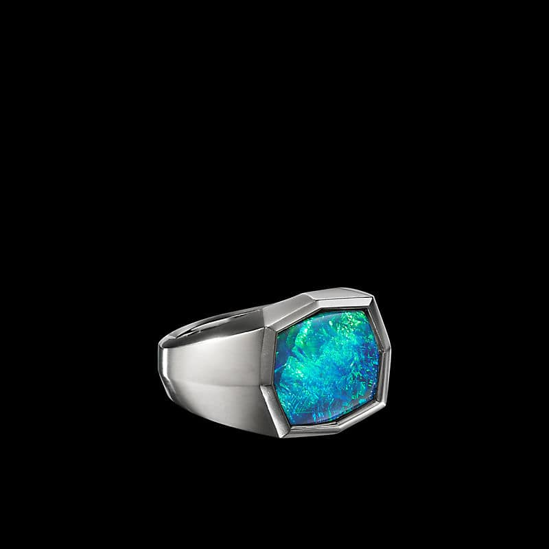 EY® SignatureSignetRing in Platinumwith Black Opal