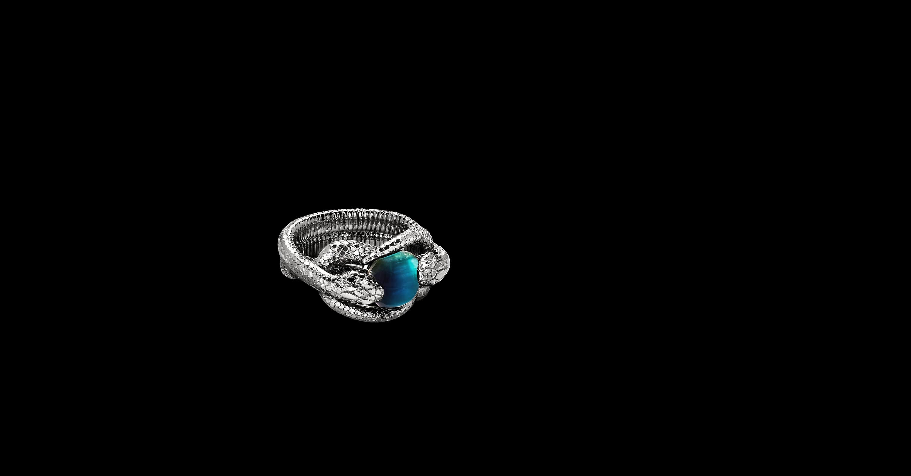 EY Signature Double Snake Ring in Platinum with Blue Cat's Eye Tourmaline