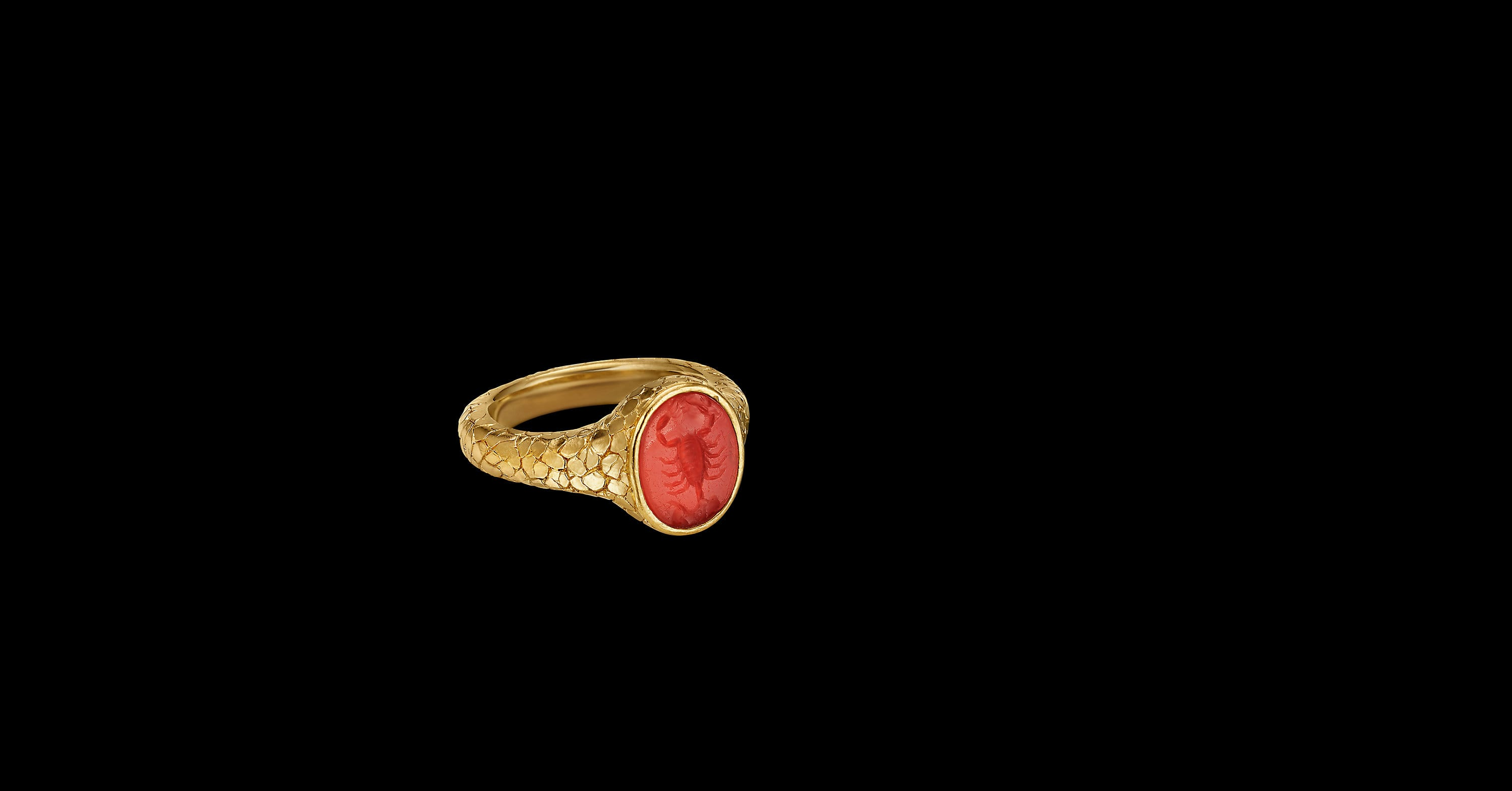 EY Signature Scoprion Intaglio Ring in 22K Yellow Goldwith Carnelian