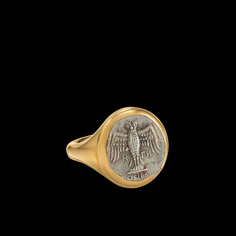 EY® SignatureEagle Coin Ringwith 22K Yellow Gold