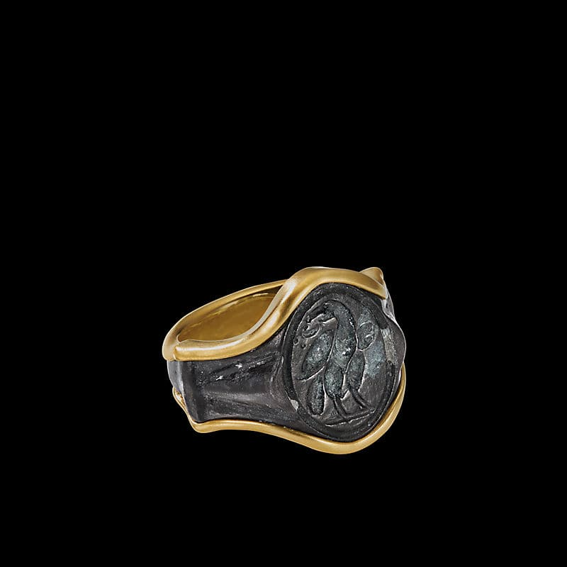 Ey® Signature Bird Signet Ring with22K Yellow Gold