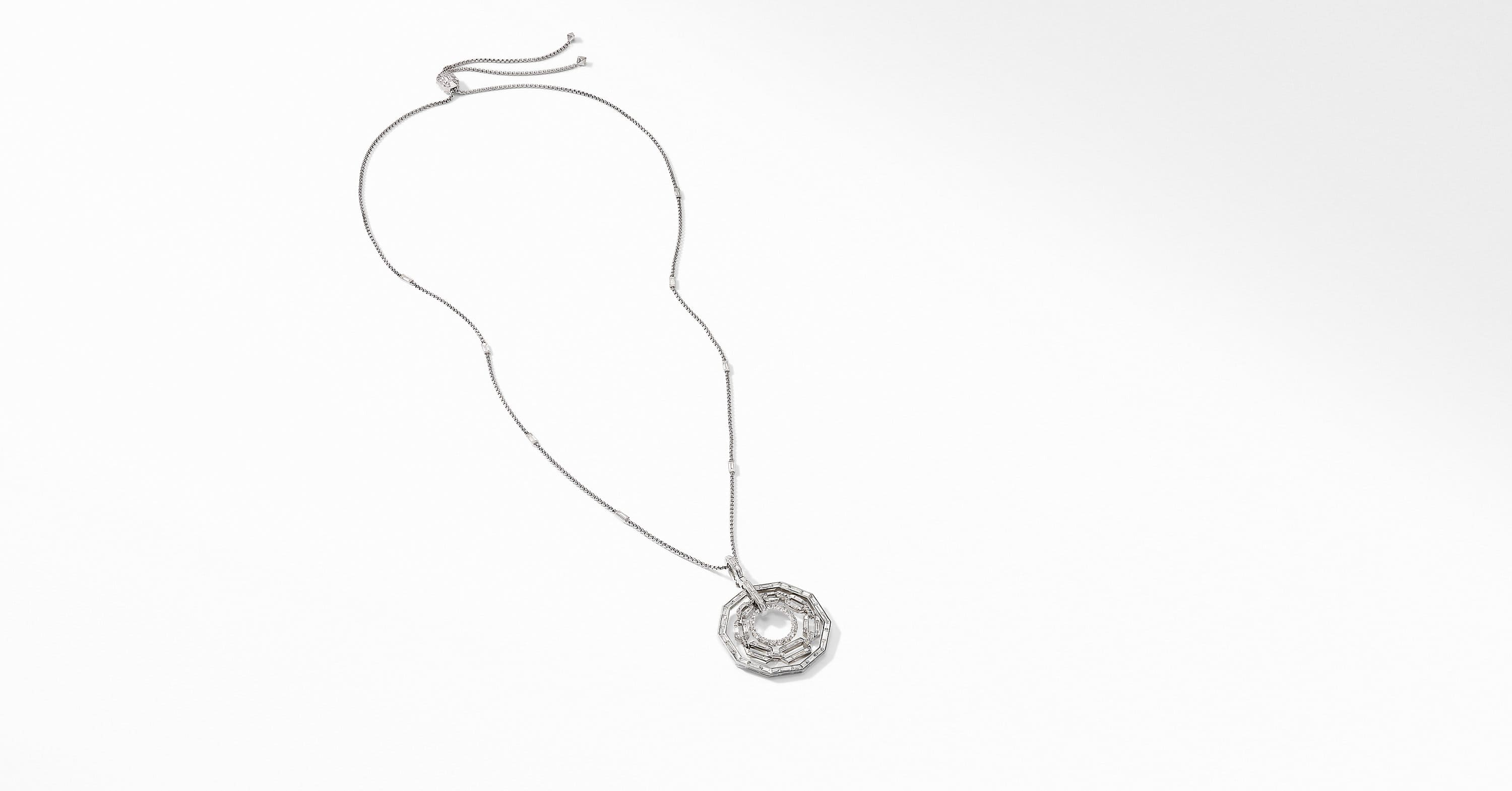 Stax Pendant Necklace in White Gold with Diamonds