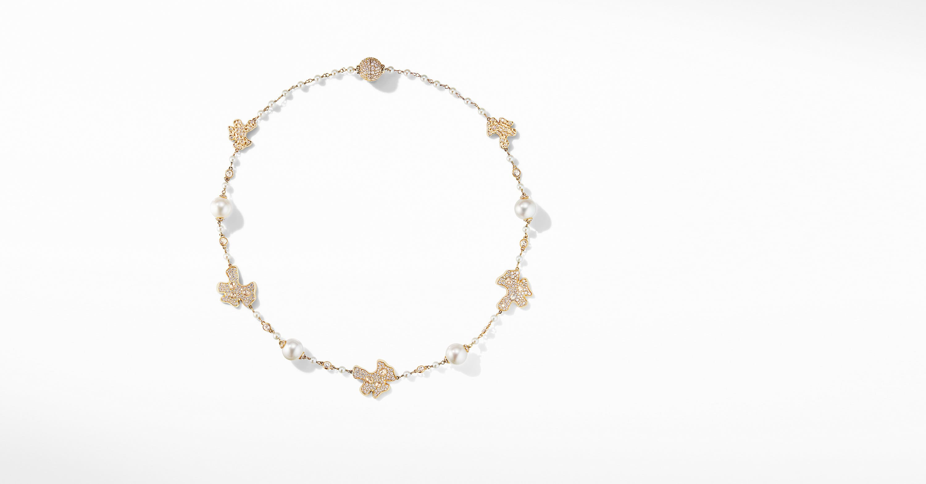 Day Petals Pearl Station Necklace in Yellow Gold with Diamonds