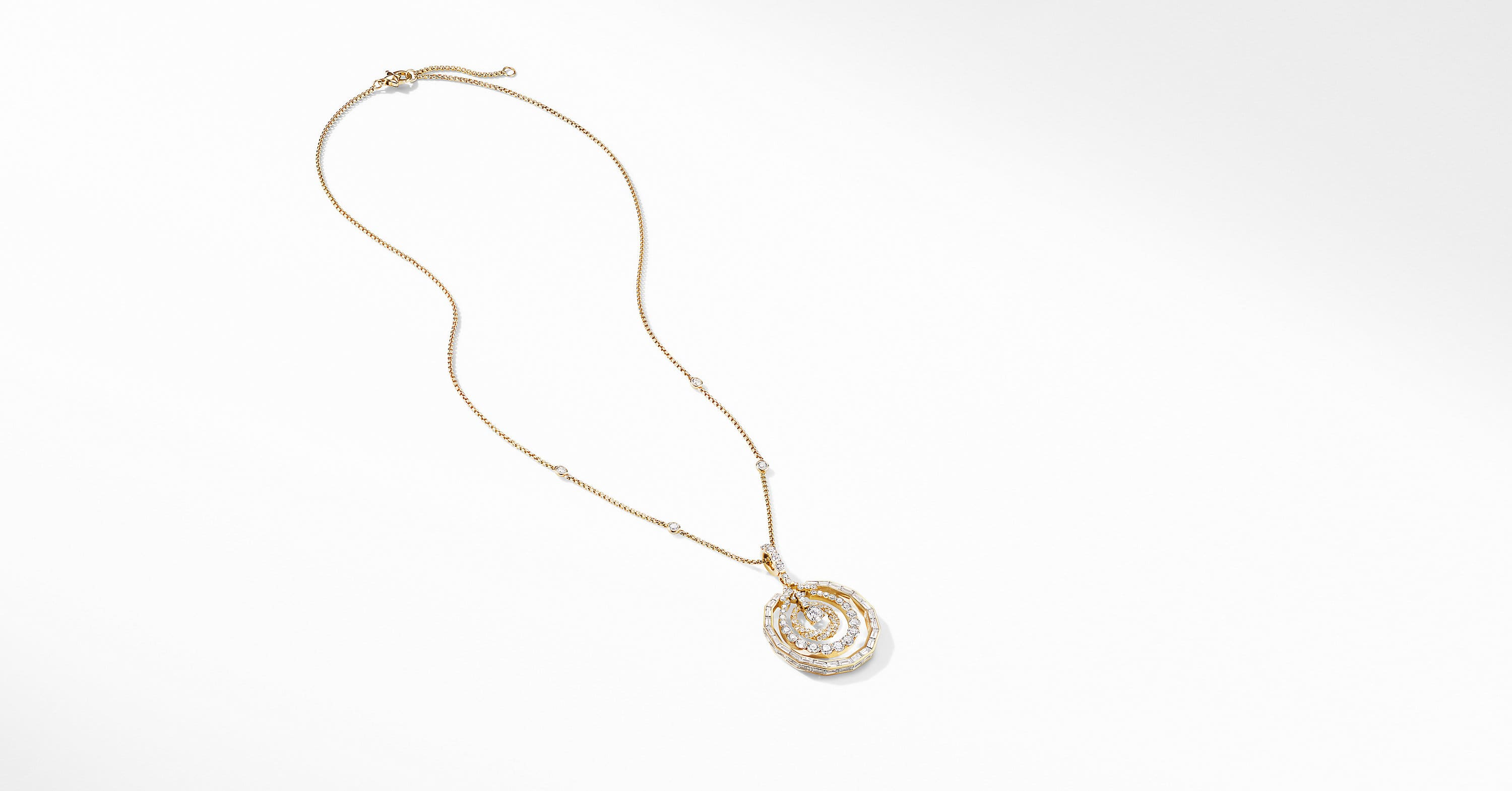 Stax Mini Pendant Necklace in Yellow Gold with Diamonds