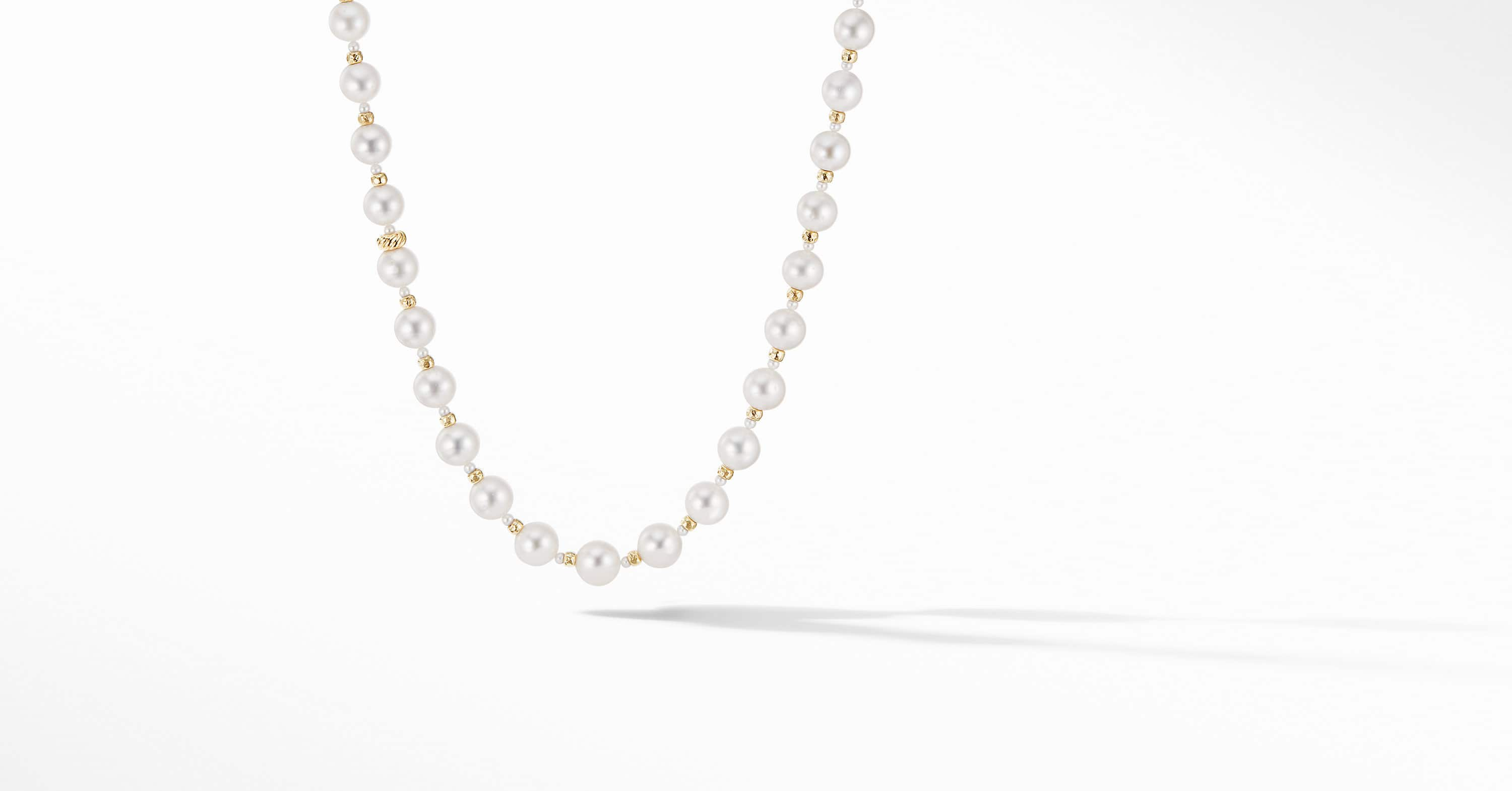 Long Graduated Pearl Necklace with 18K Yellow Gold