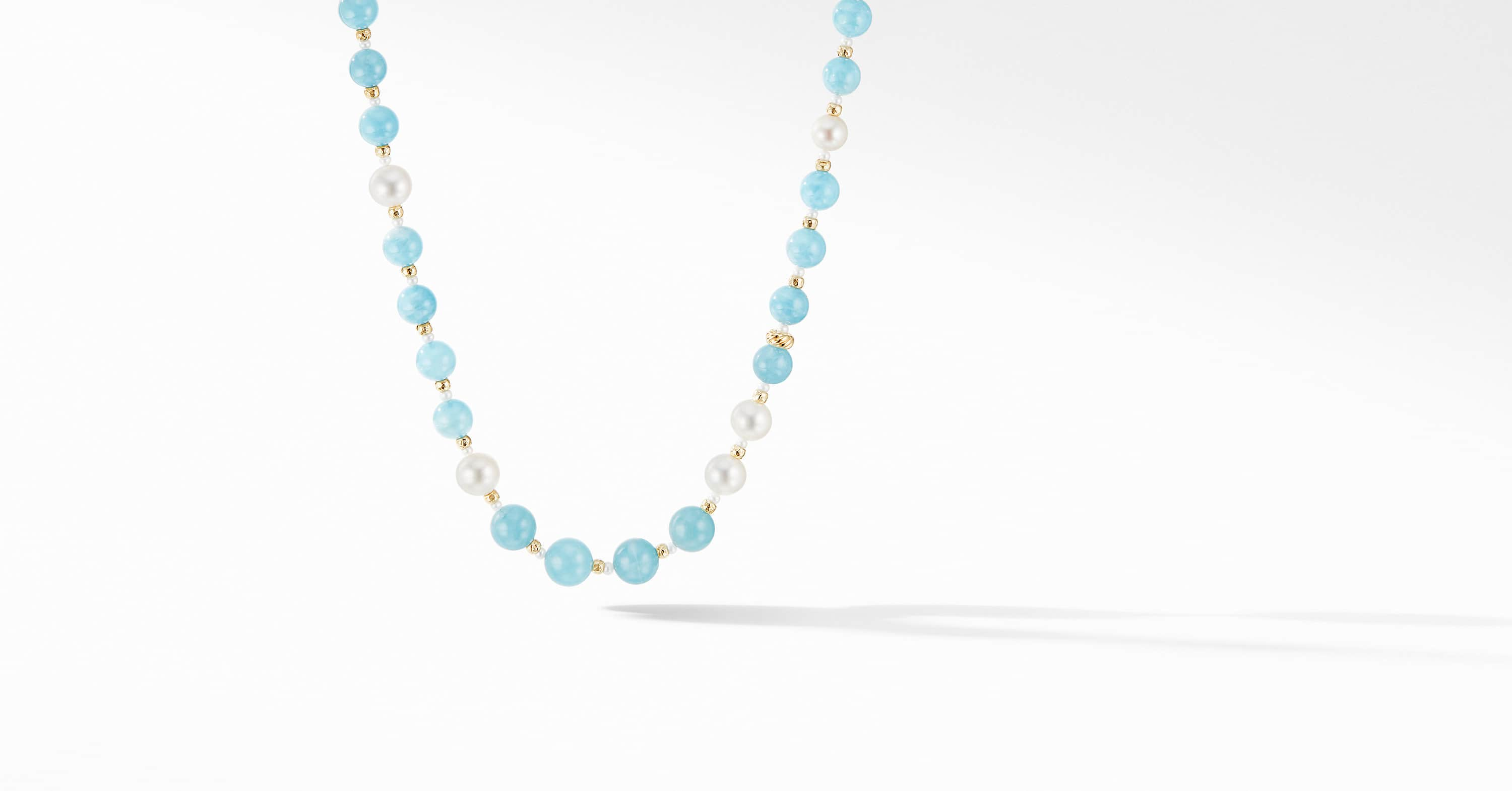 DY Signature Long Bead Necklace with 18K Yellow Gold