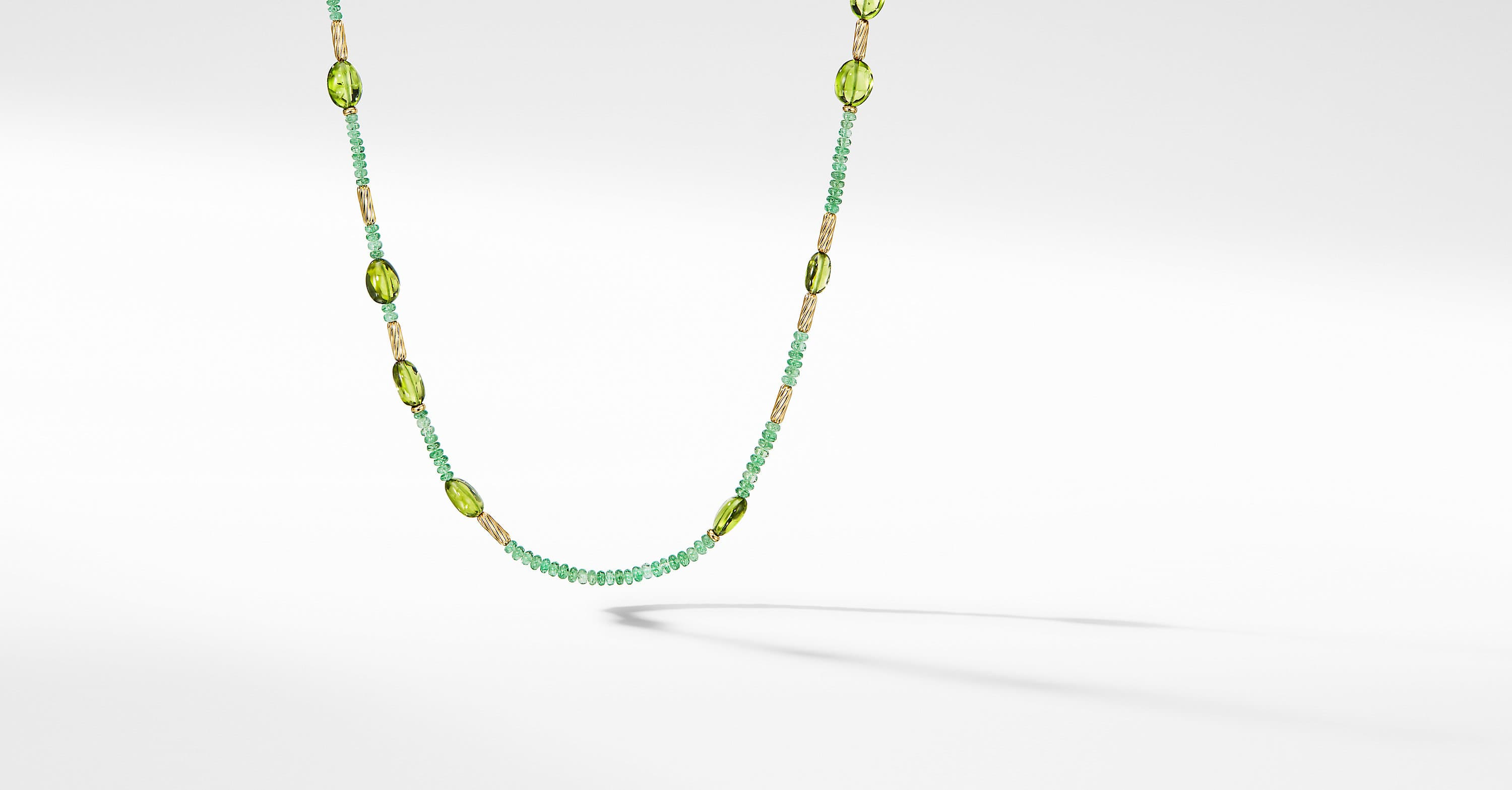 Long Tweejoux Necklace with Tsavorite and 18K Yellow Gold