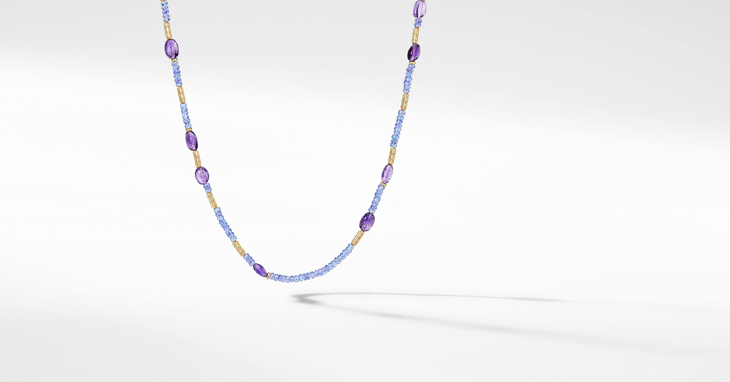 Long Tweejoux Necklace with Tanzanite and 18K Yellow Gold