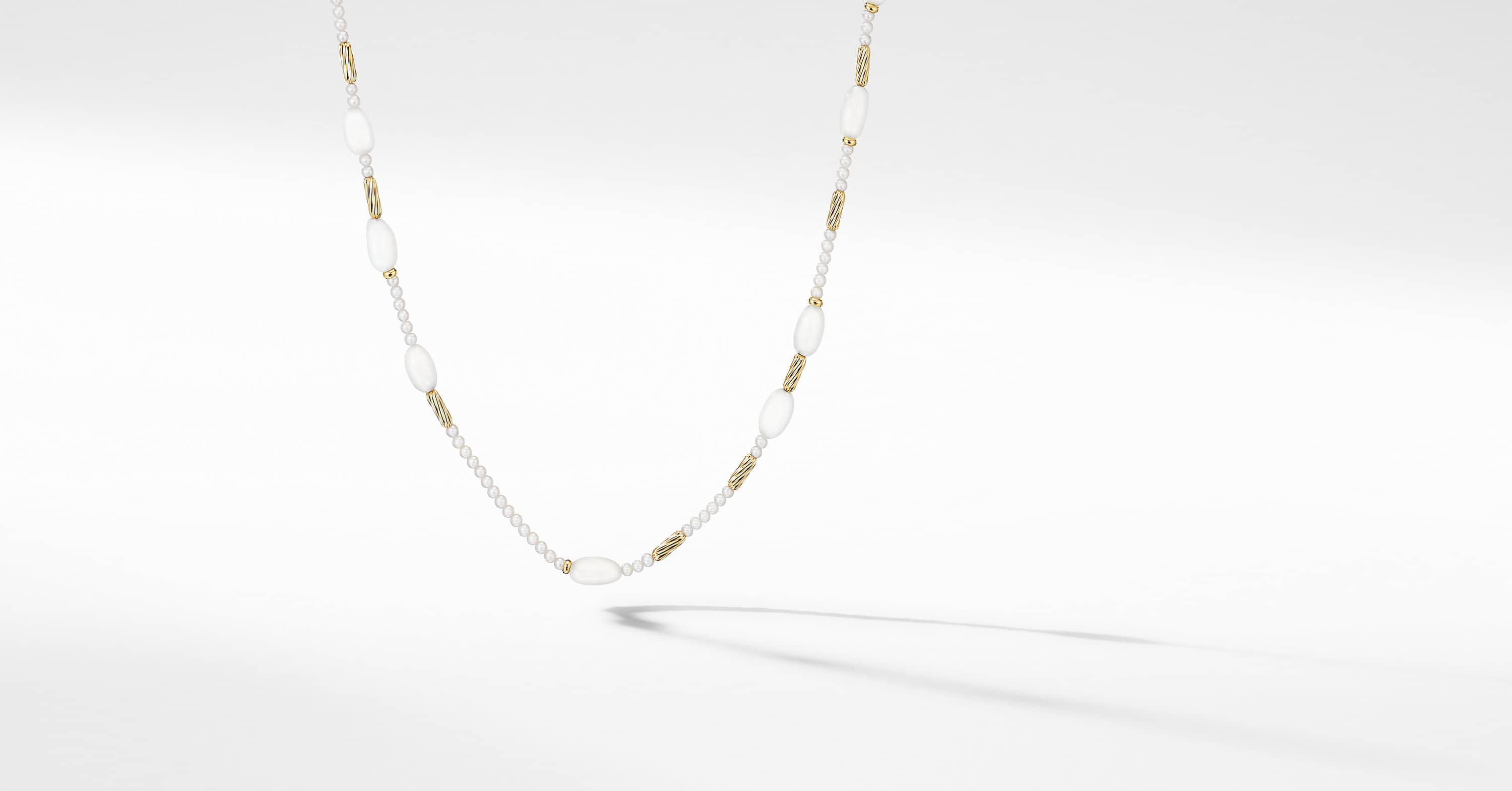 Long Tweejoux Necklace with Pearls and 18K Yellow Gold