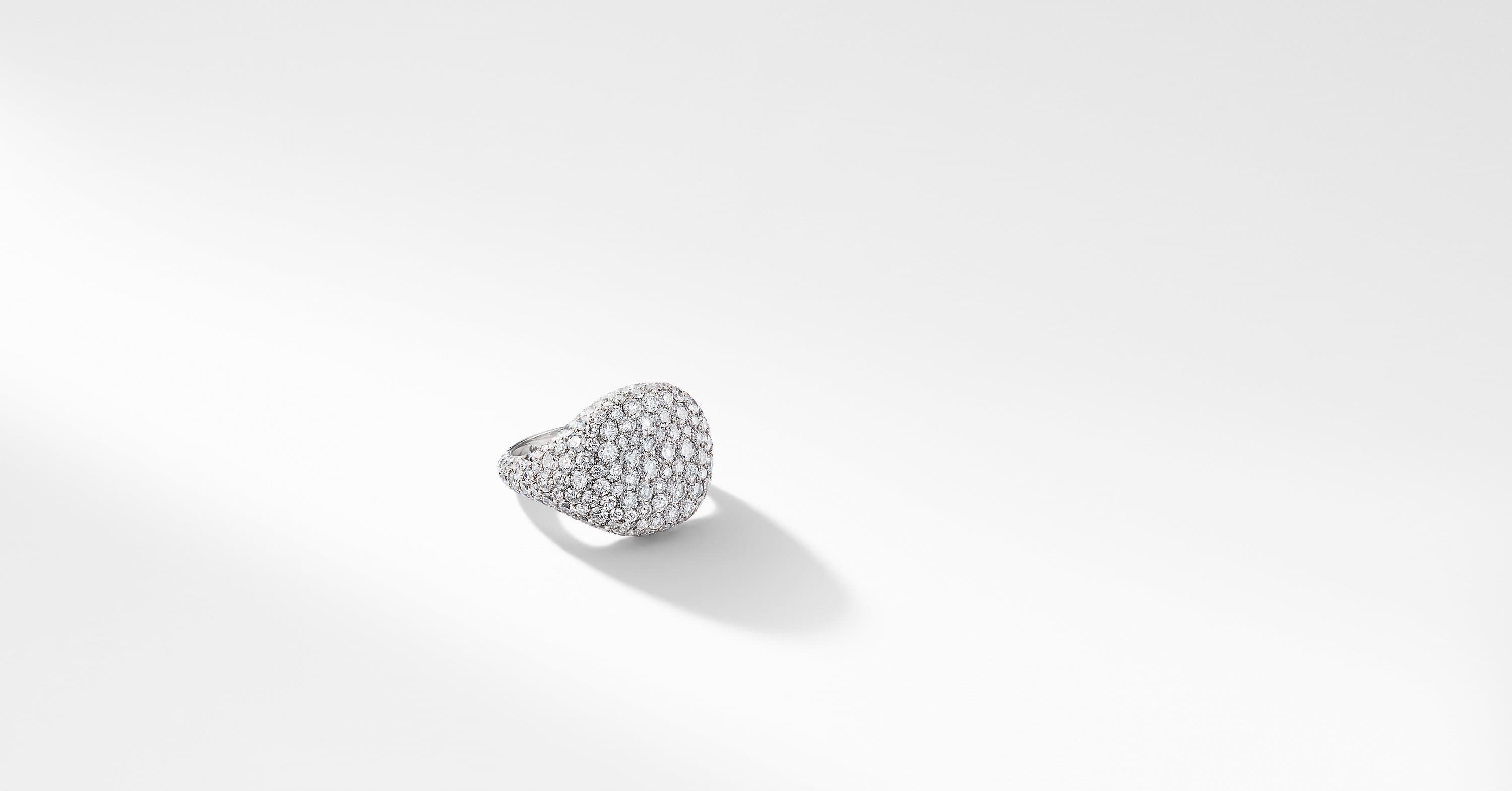 Pavé Pinky Ring in 18K White Gold