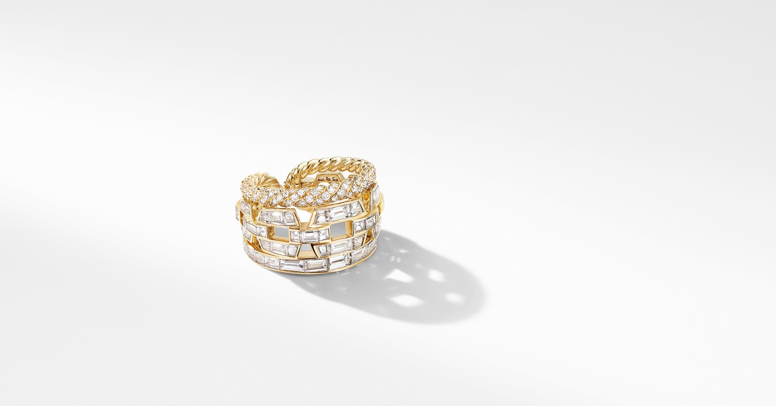 Stax Three Row Ring in Yellow Gold with Diamonds