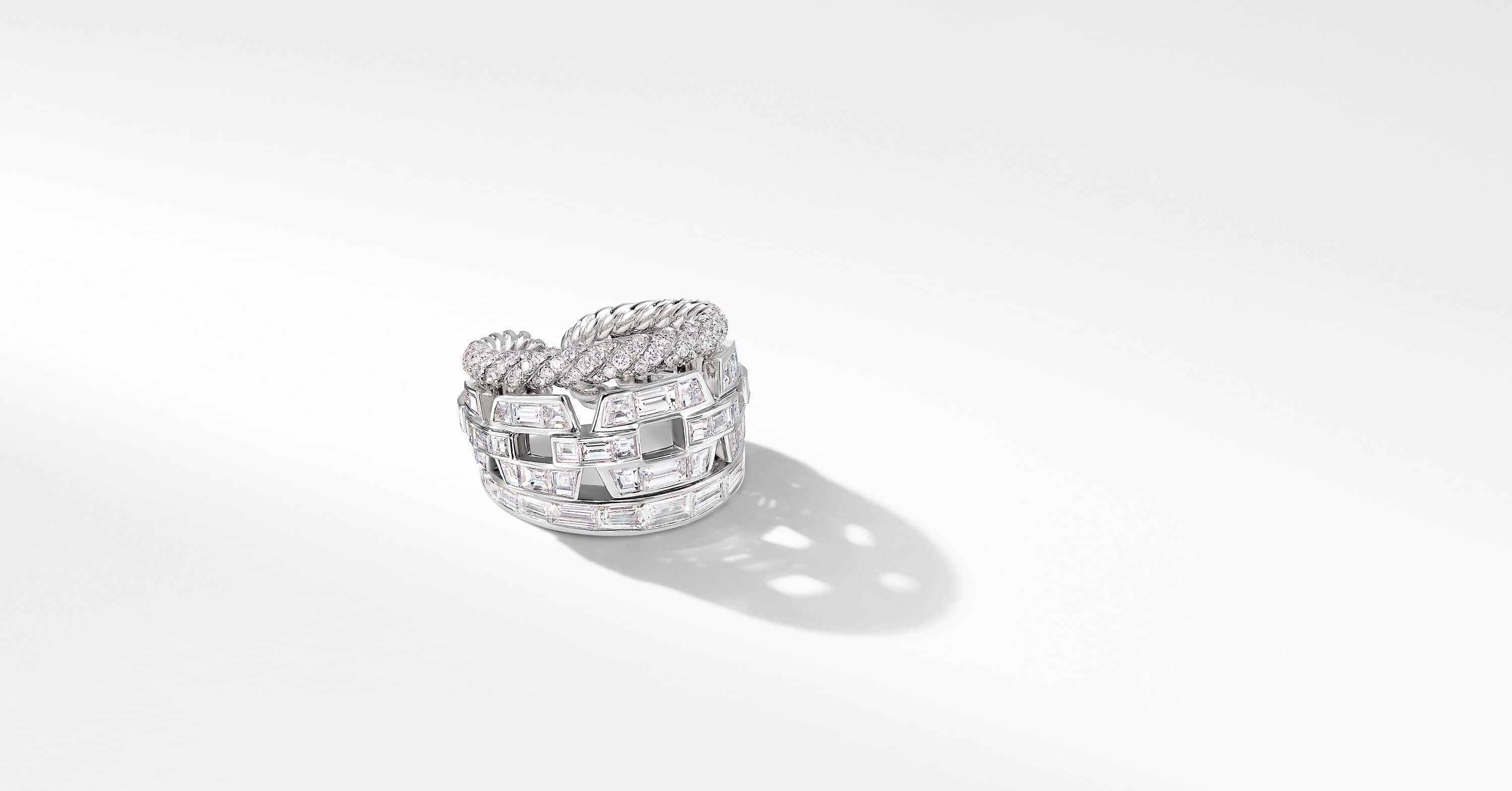 Stax Three Row Ring in White Gold with Diamonds