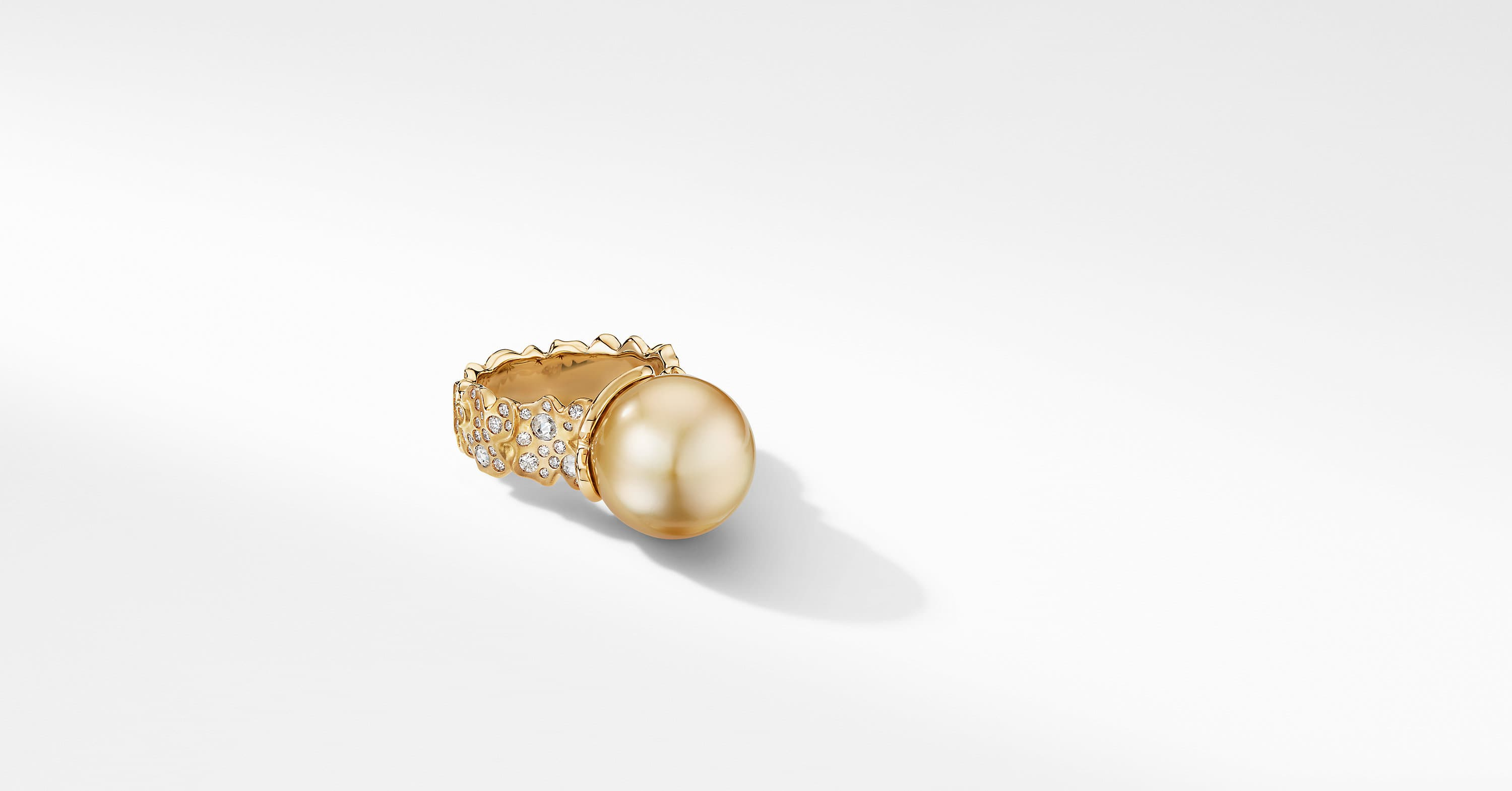 Day Petals Golden Pearl Ring in Yellow Gold with Diamonds