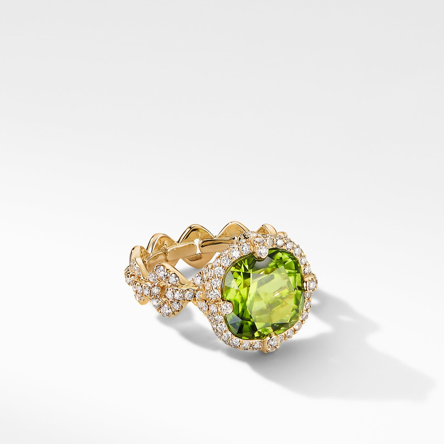 K449-COD1 Ring Stick Pearl and Peridot Size 7.5