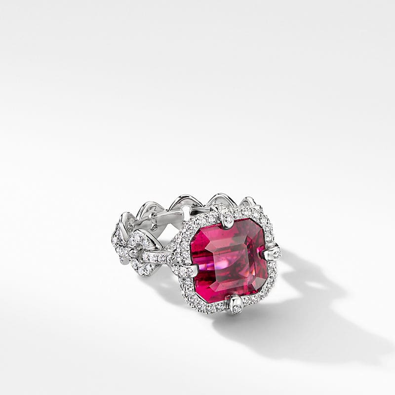 Gems Cushion Ring in White Gold with Diamonds