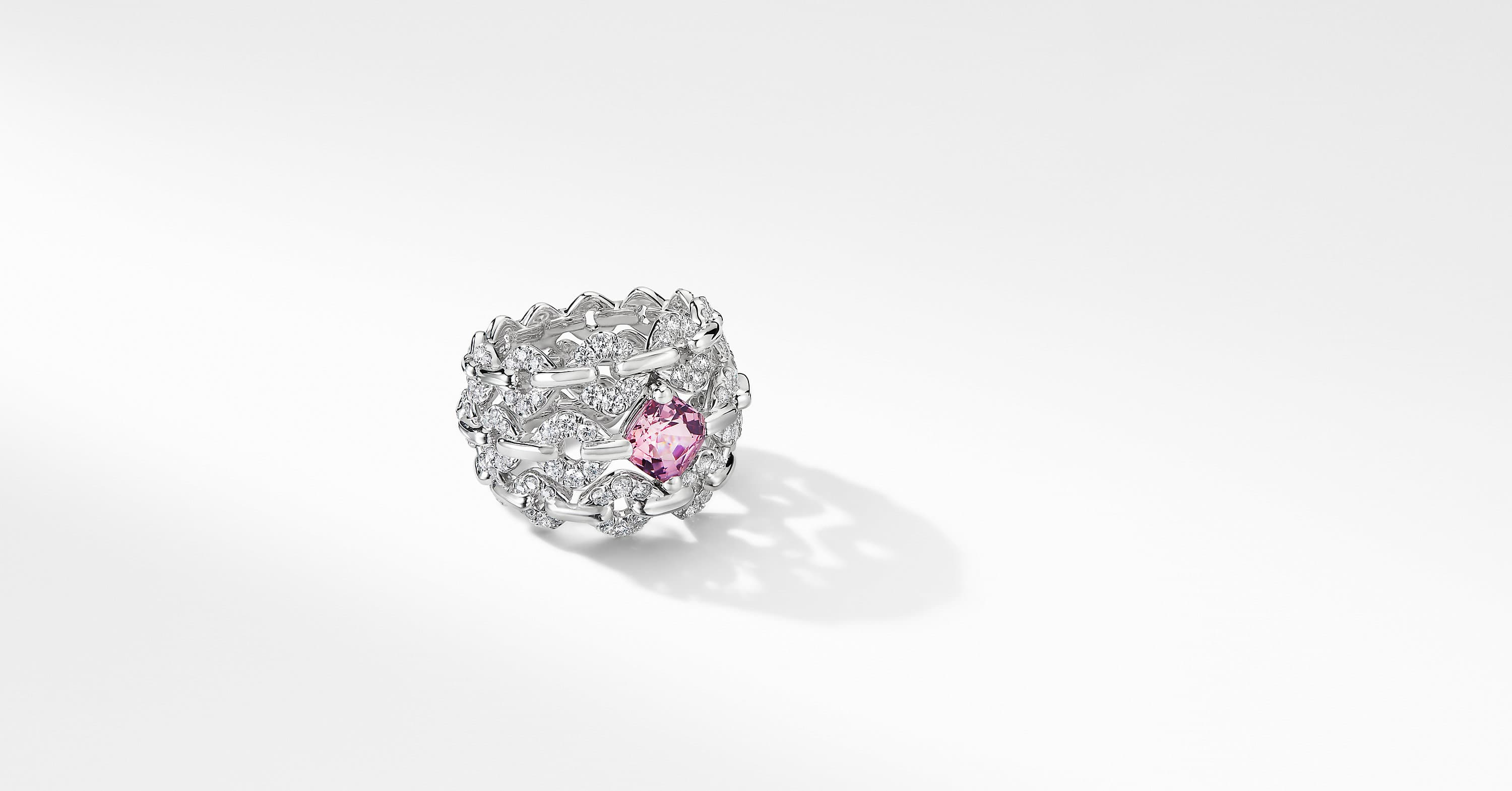 Gems Spinel Three Row Ring in White Gold with Diamonds