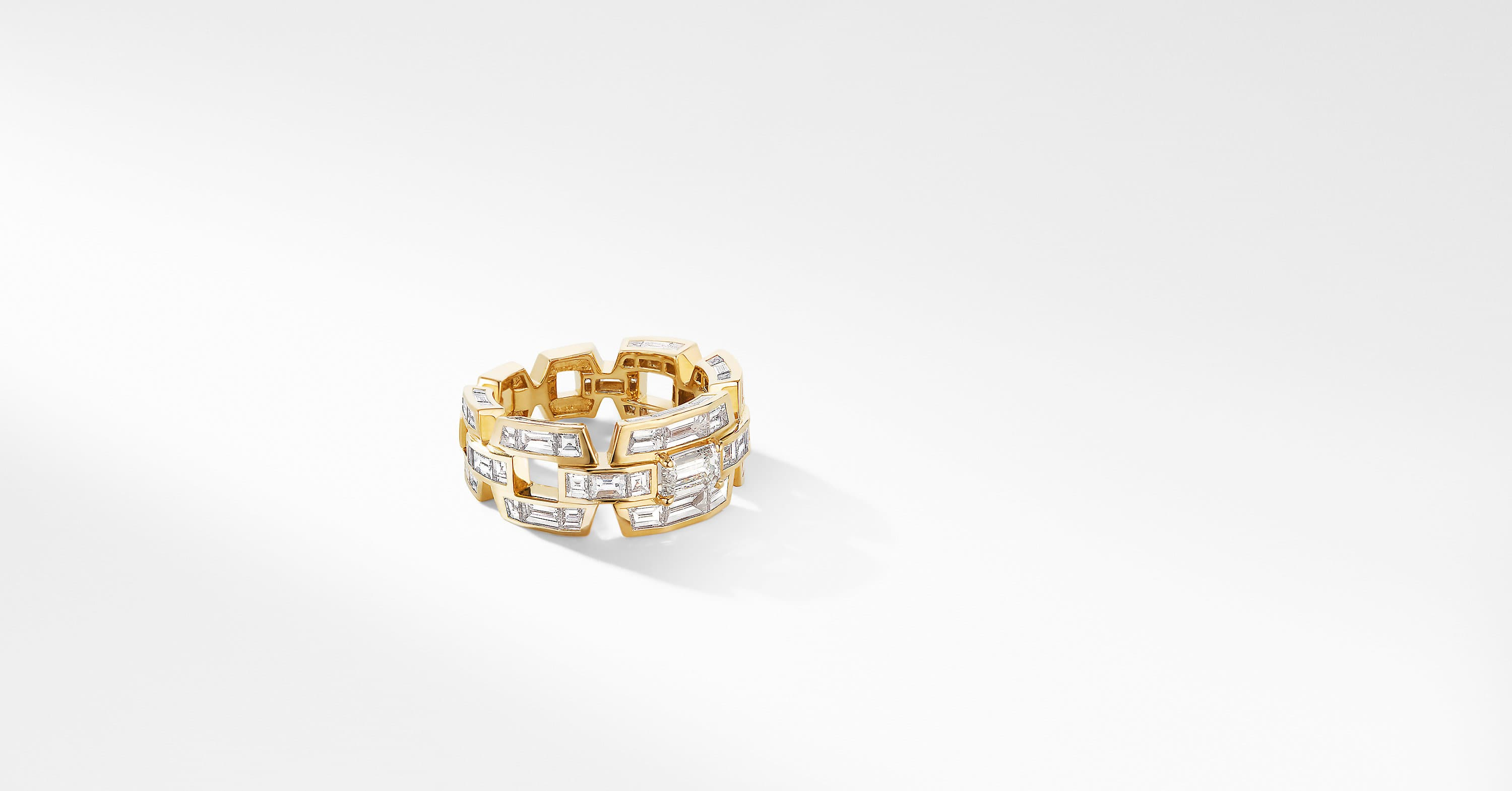 Stax Baguette Ring in Yellow Gold with Diamonds