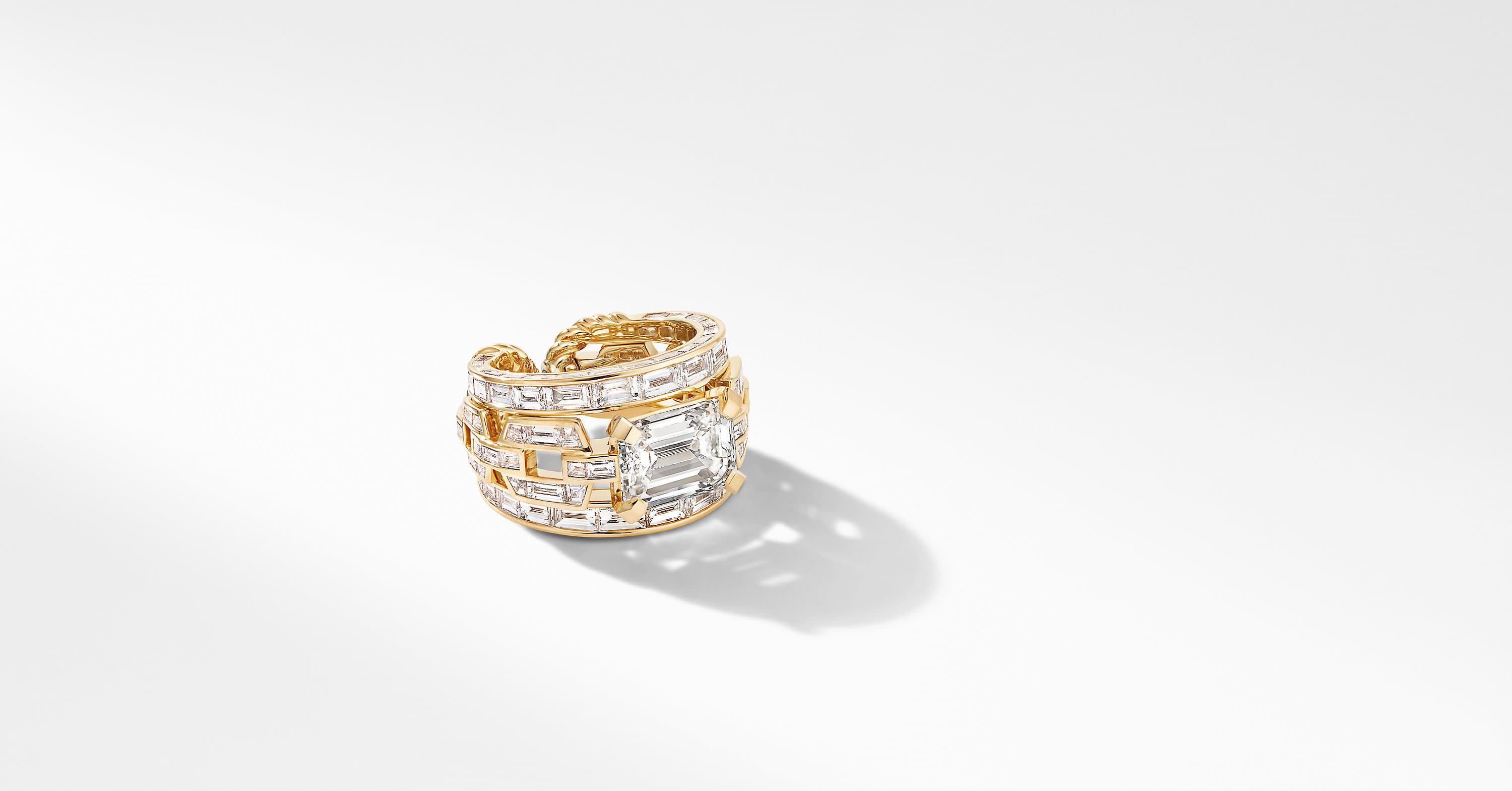 Stax Emerald Cut Ring in Yellow Gold with Diamonds