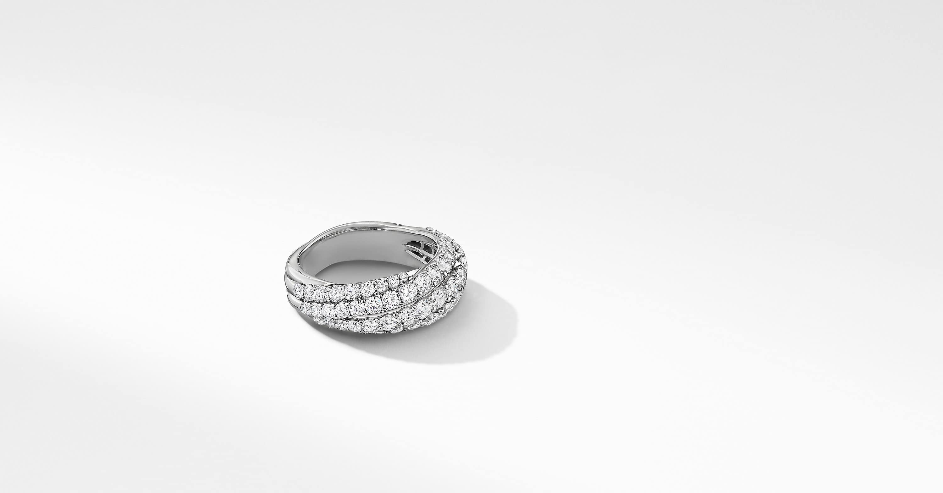 Floating Diamonds Small Ring in 18K White Gold