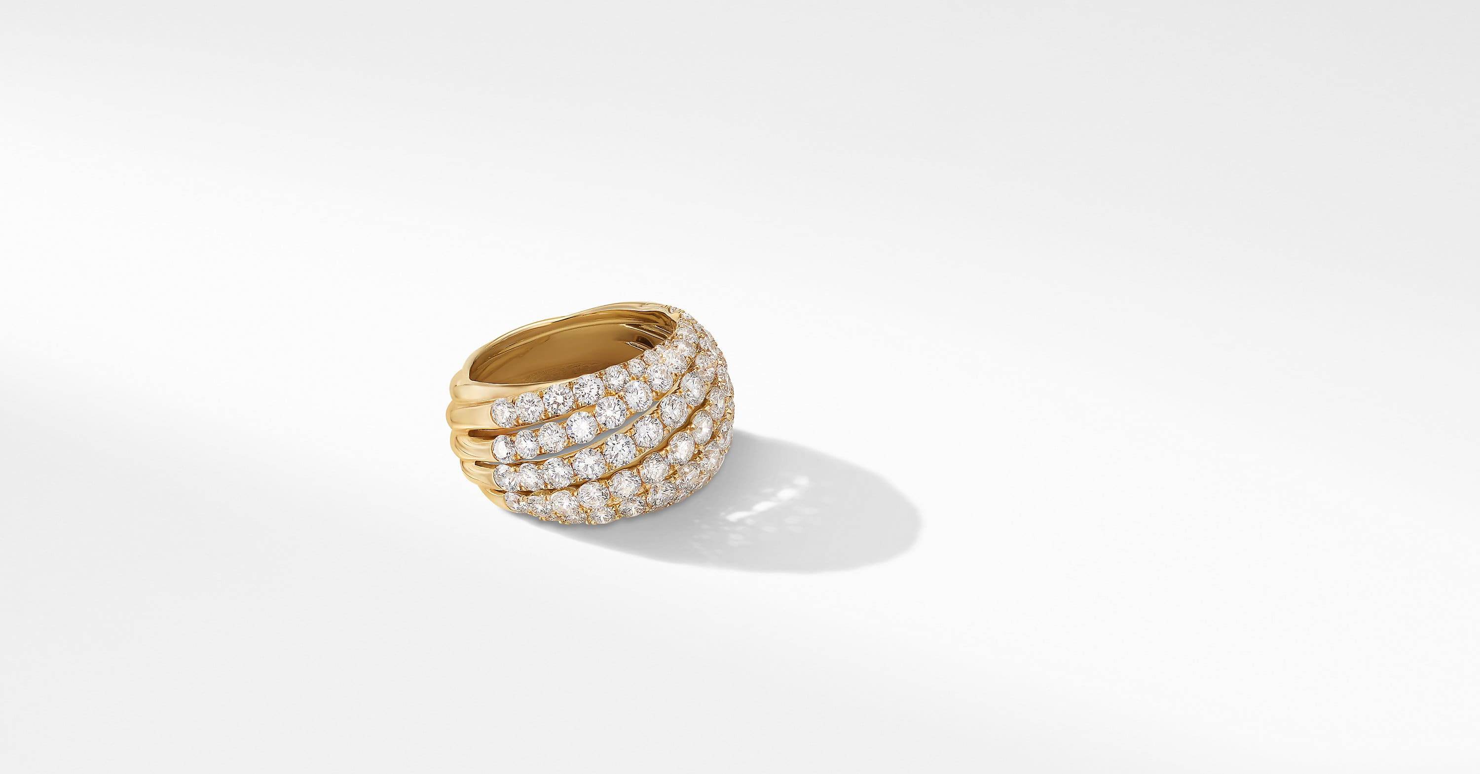Floating Diamonds Large Ring in 18K Yellow Gold