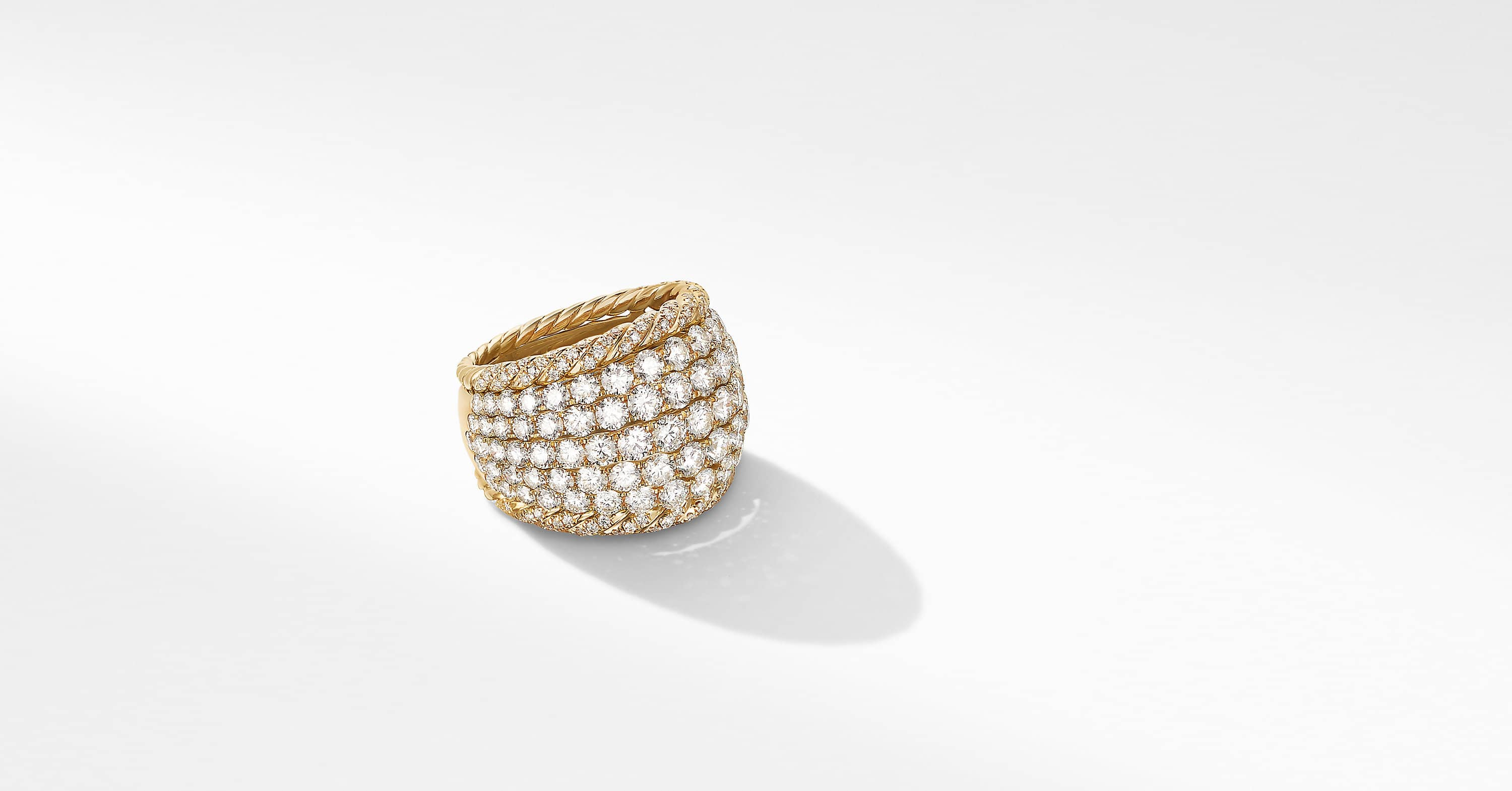 Floating Diamonds Cable Dome Ring in 18K Yellow Gold