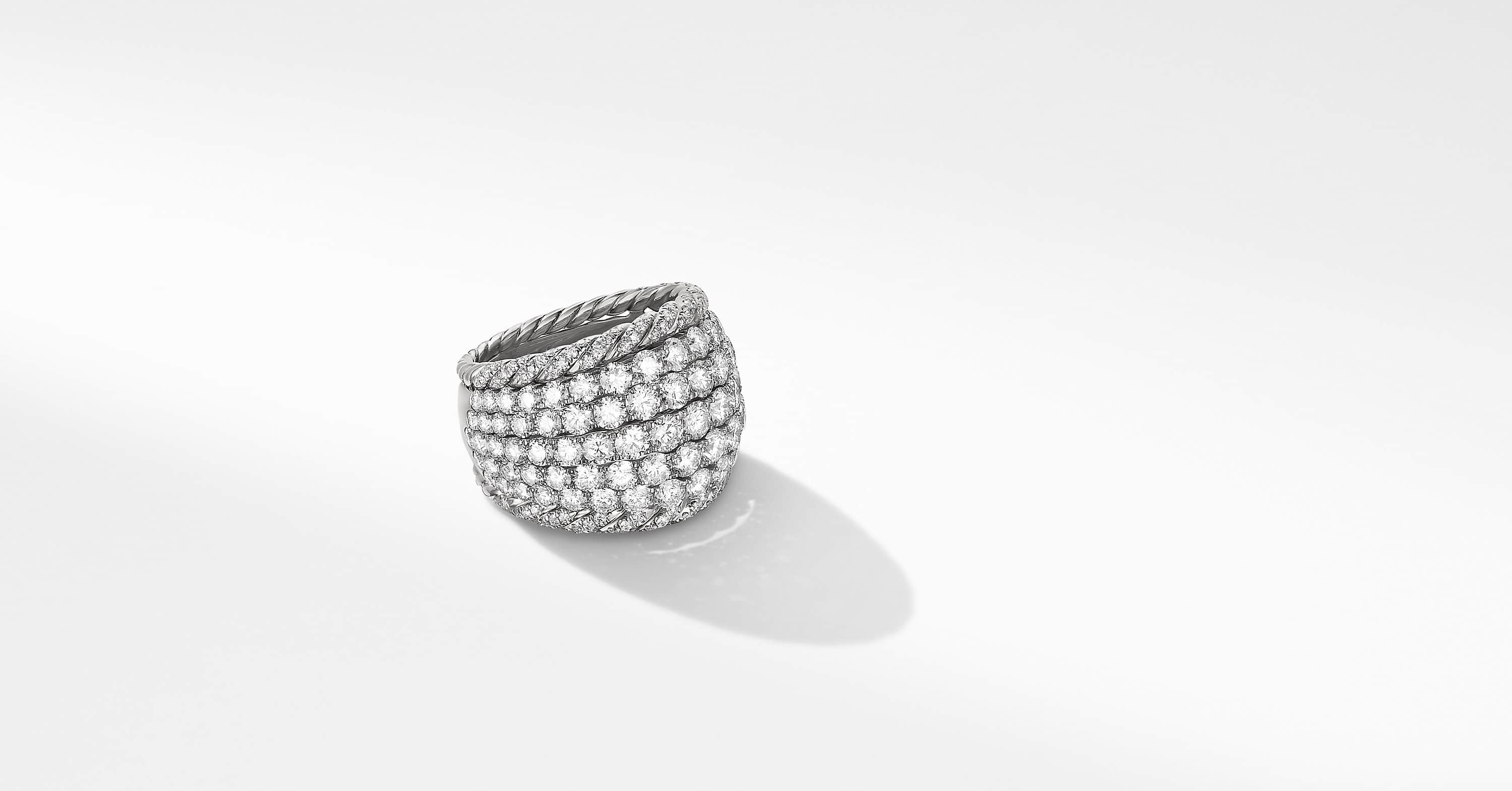 Floating Diamonds Cable Dome Ring in 18K White Gold