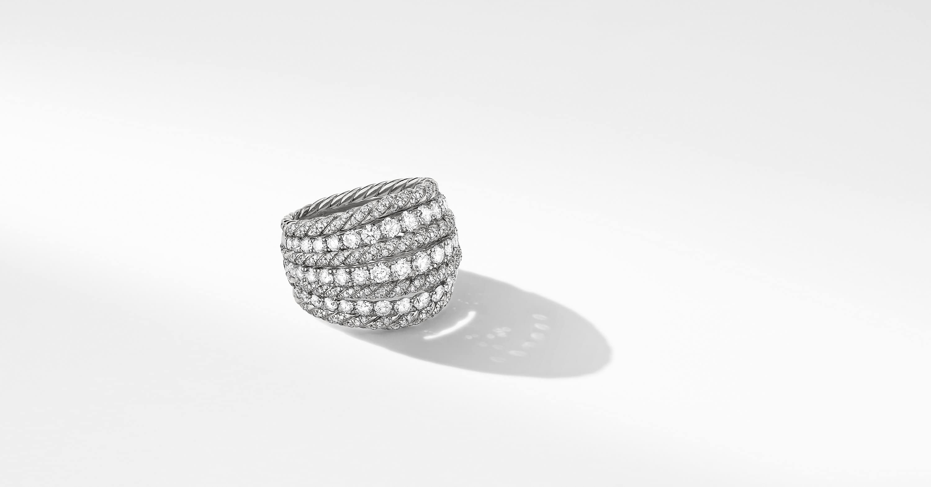 Floating Diamonds Dome Ring in 18K White Gold