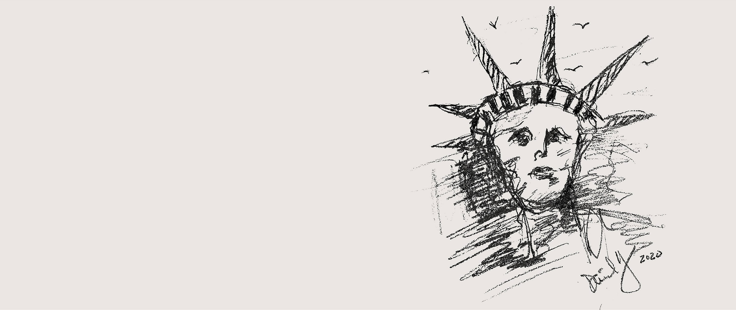 "A black-and-white sketch of the head of the Statue of Liberty, surrounded by birds and signed ""David Yurman 2020,"" is shown on the right side of the page against a beige banner"
