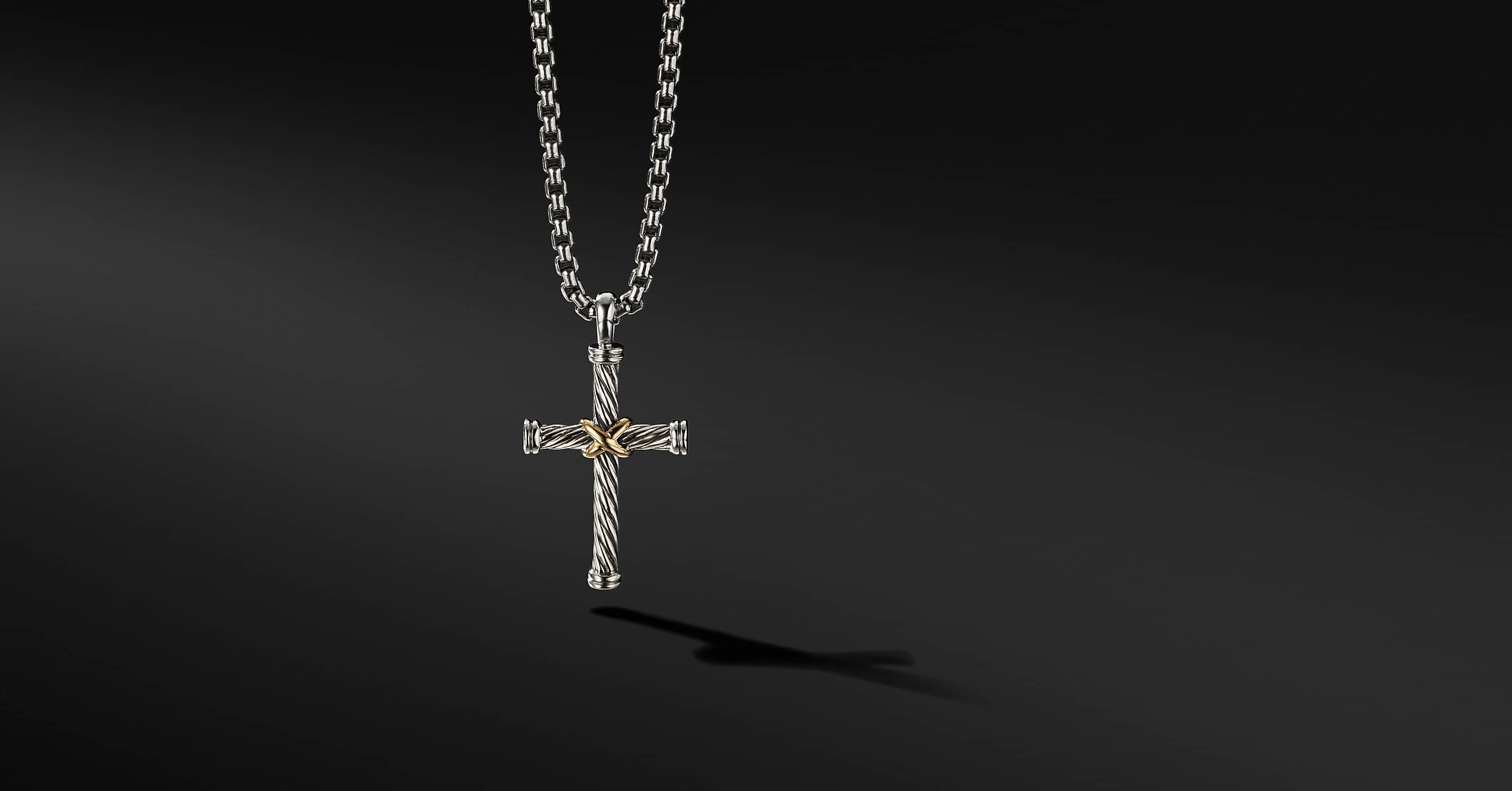 Cable Classic Collection Cross with 18K Yellow Gold