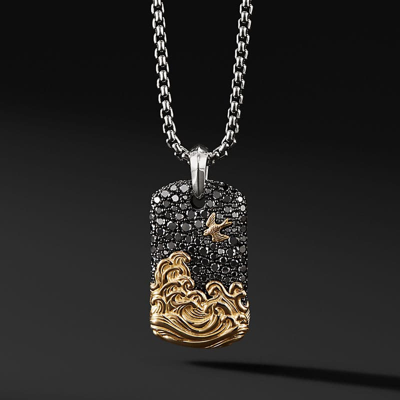 Waves Tag with 18K Gold