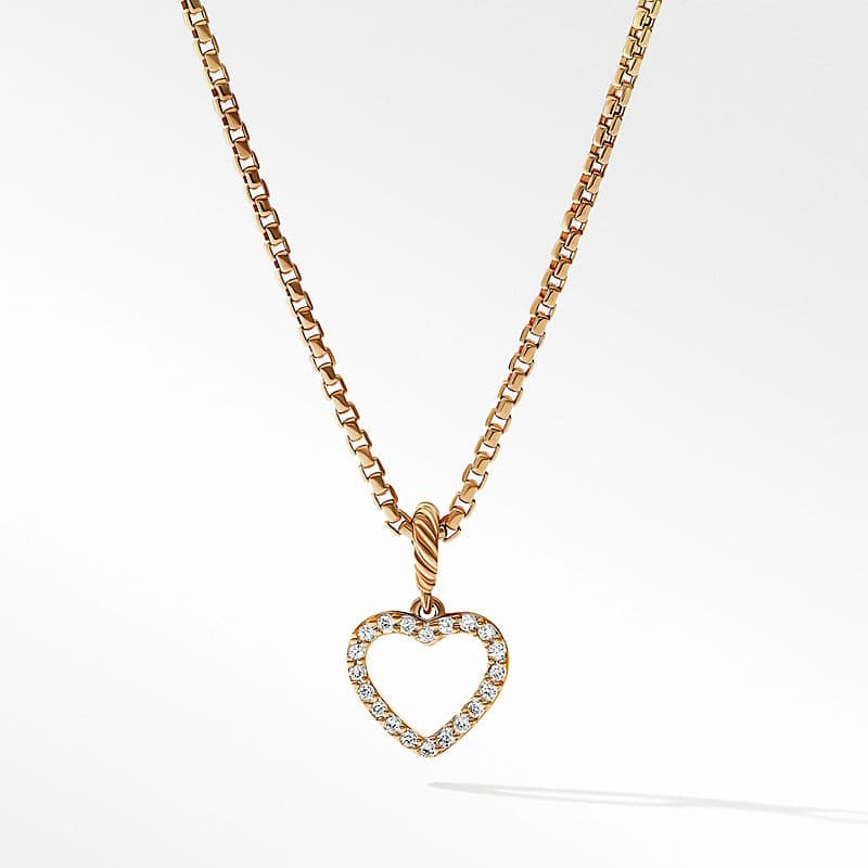 Heart Amulet in 18K Yellow Gold with Pavé