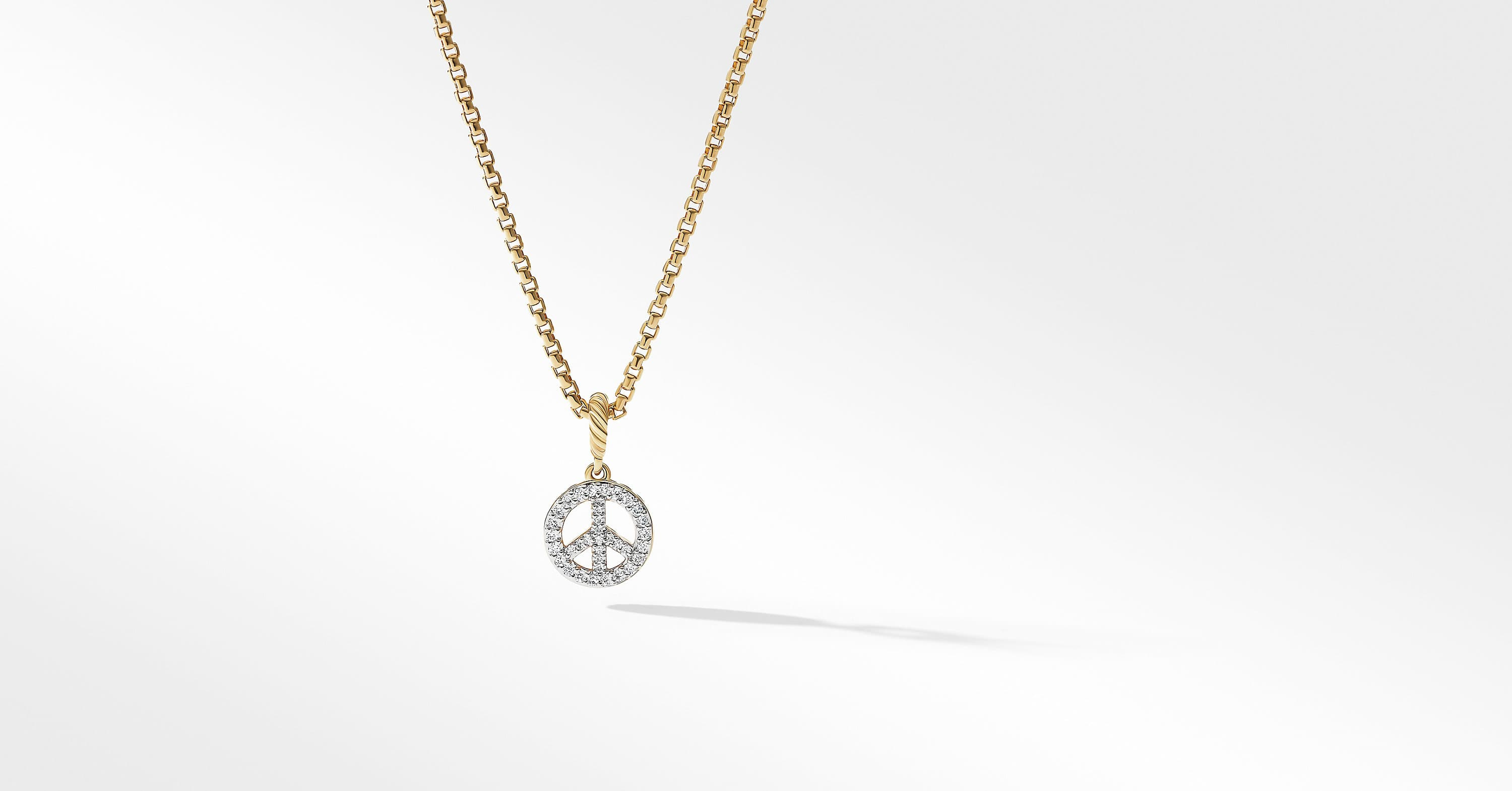 Peace Sign Amulet in 18K Yellow Gold with Diamonds