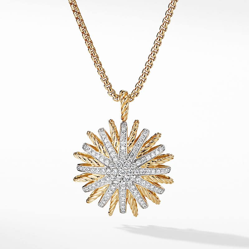Starburst Large Pendant in 18K Yellow Gold with Diamonds, 35mm