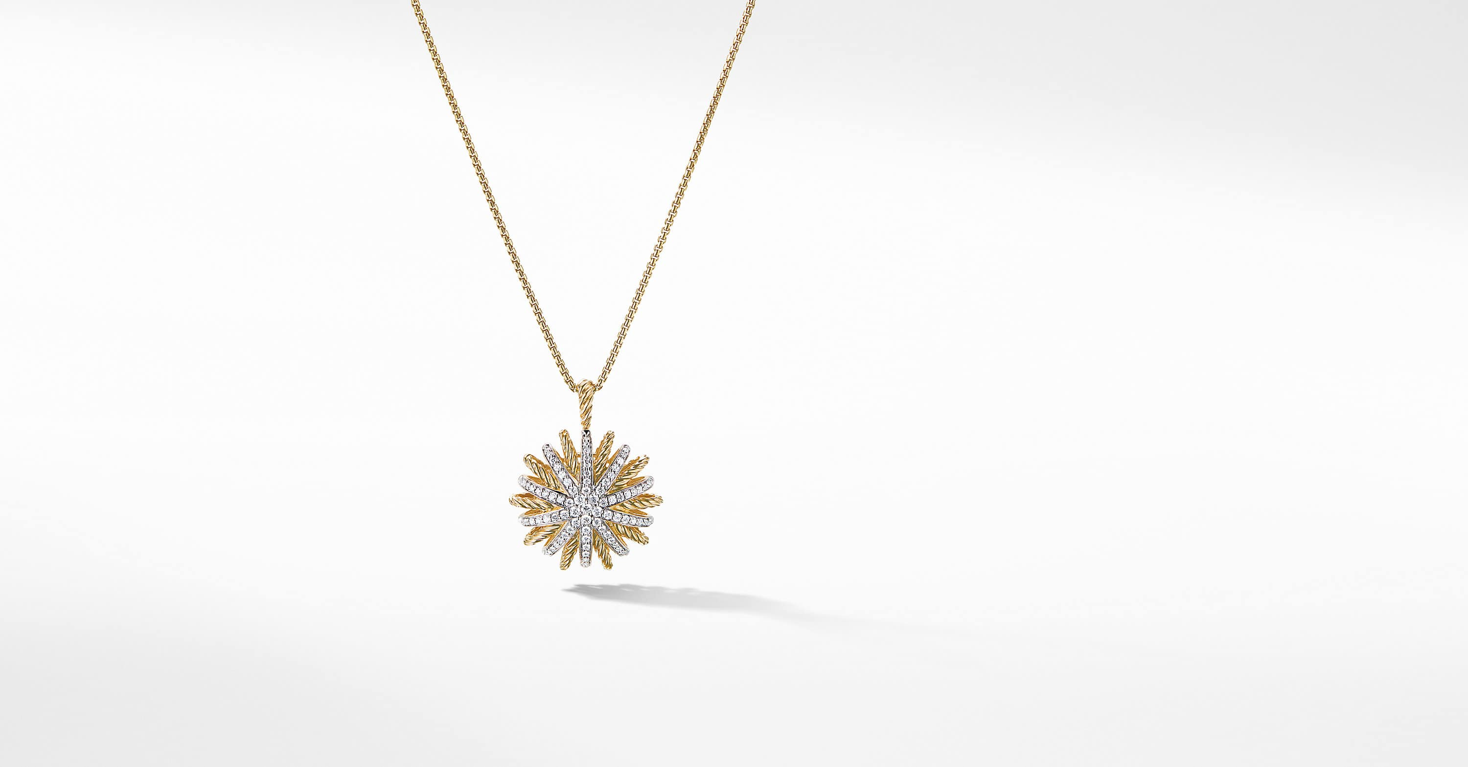 Starburst Medium Pendant in 18K Yellow Gold with Diamonds, 22mm