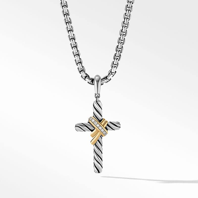 X Cross Pendant with 18K Yellow Gold and Diamonds, 32mm