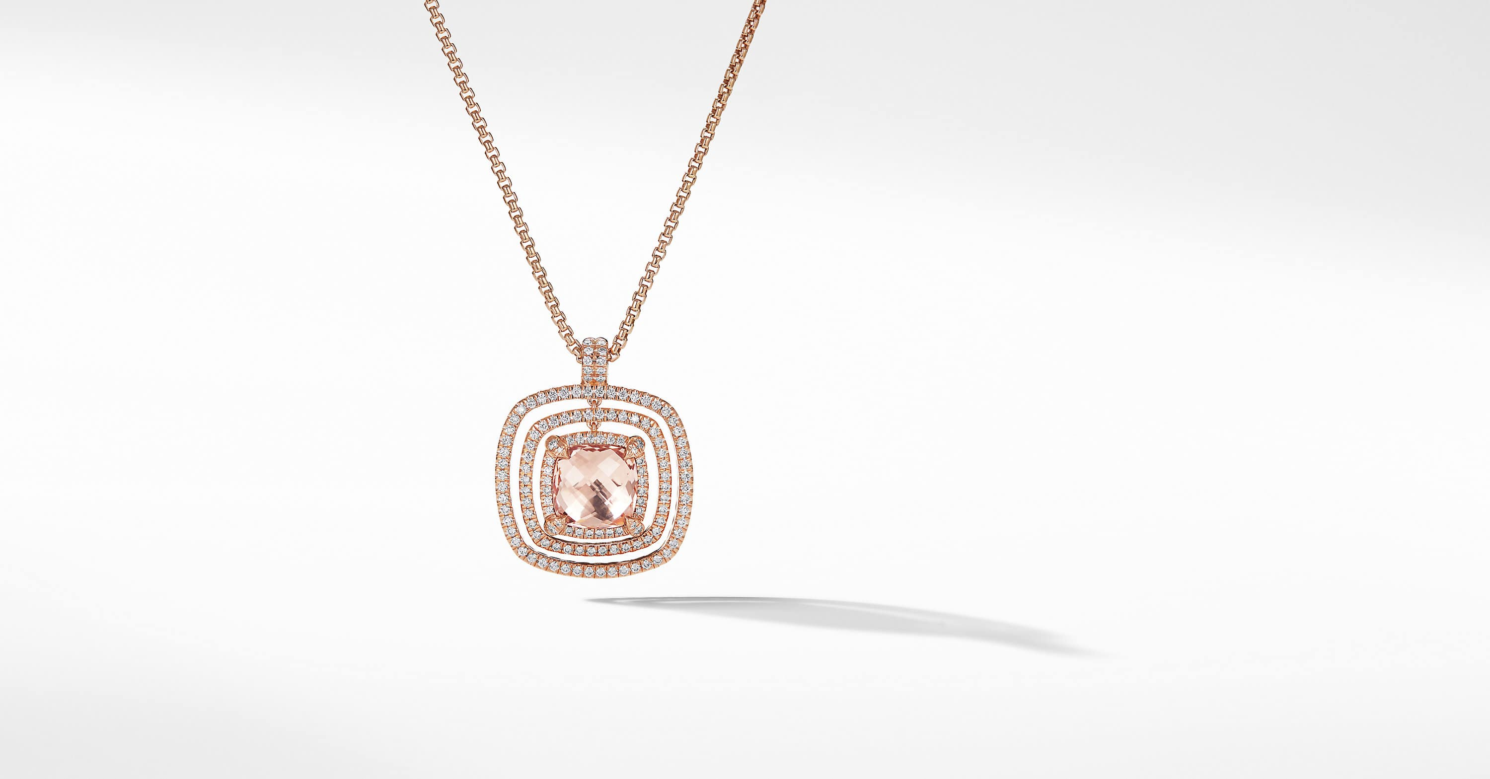 Collier Chatelaine Pavé Bezel en or rose 18K