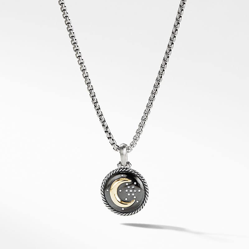 Moon and Star Amulet with Diamonds and 18k
