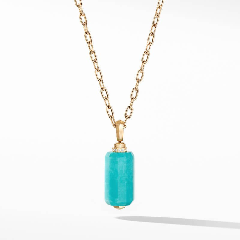 Barrels Pendant in 18K Yellow Gold with Amazonite