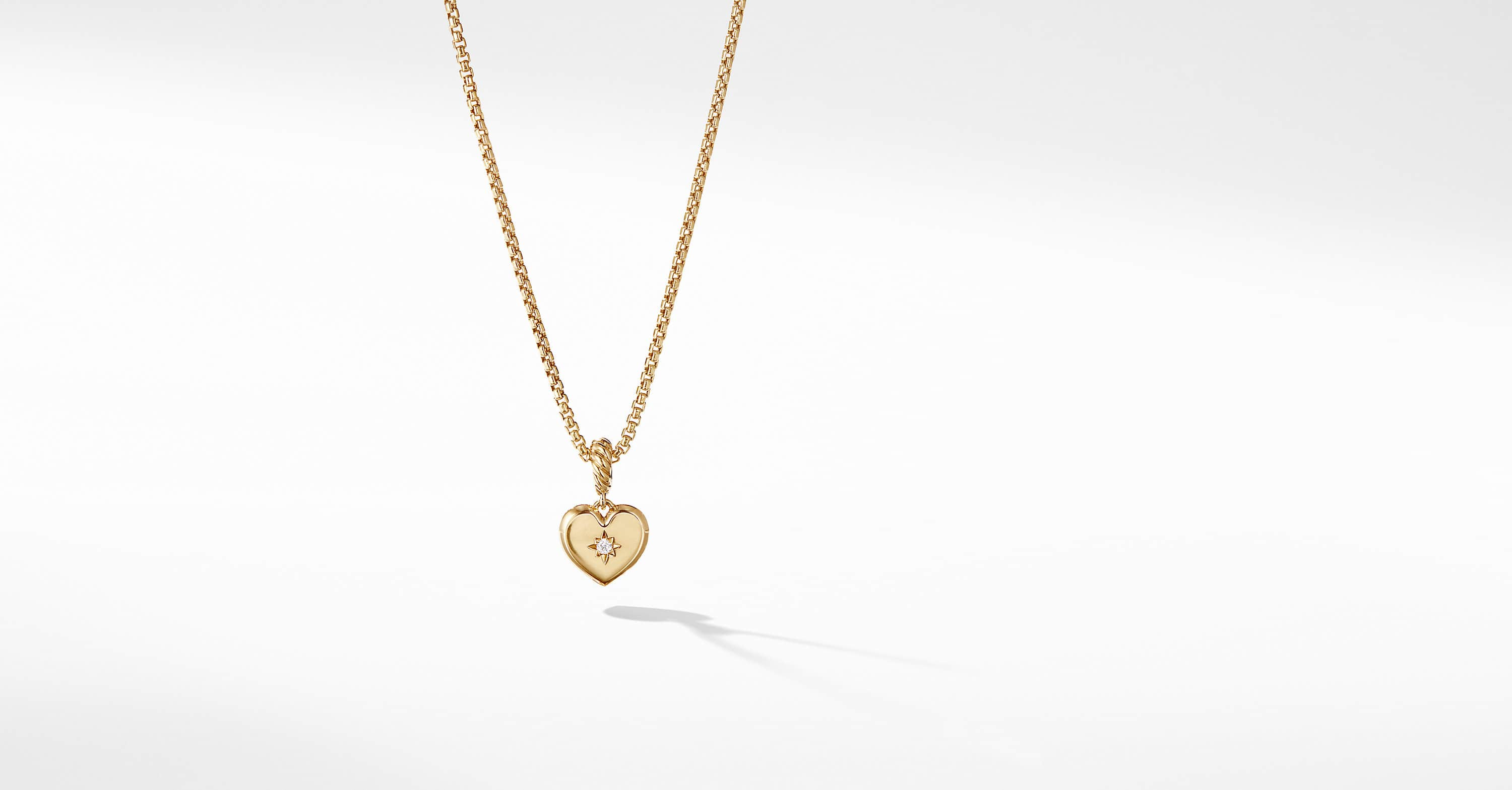 Compass Heart Pendant in 18K Yellow Gold with Center Diamond