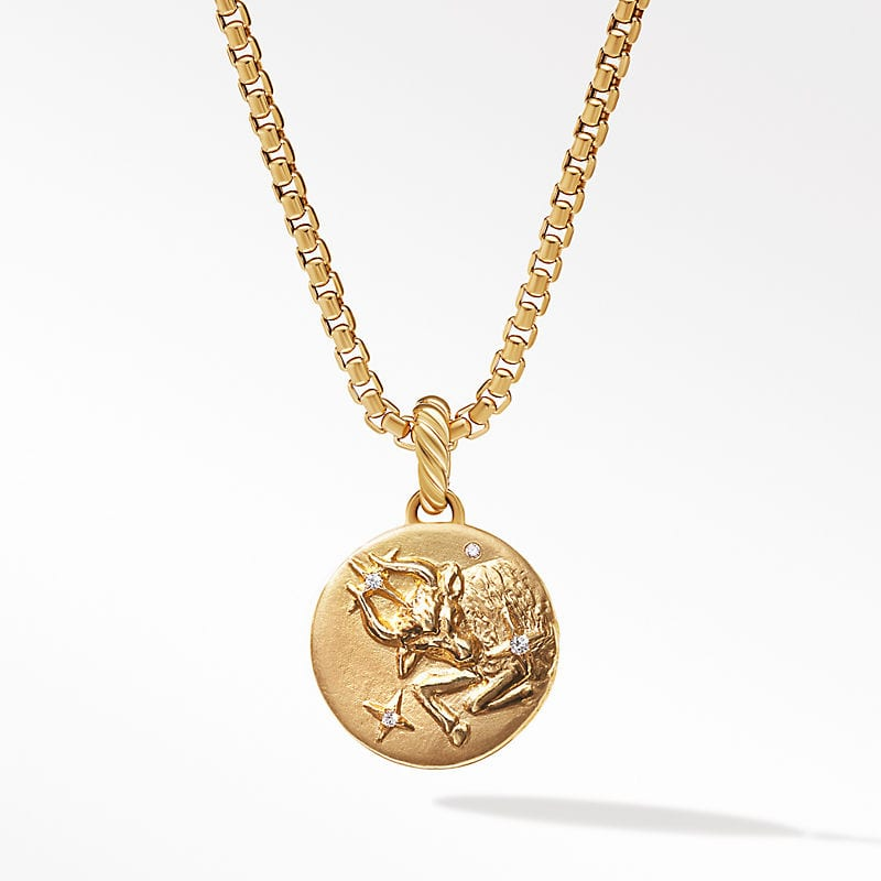 Taurus Amulet in 18K Yellow Gold with Diamonds