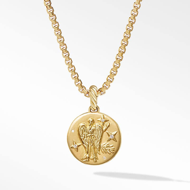 Virgo Amulet in 18K Yellow Gold with Diamonds