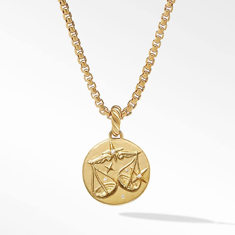 Libra Amulet in 18K Yellow Gold with Diamonds