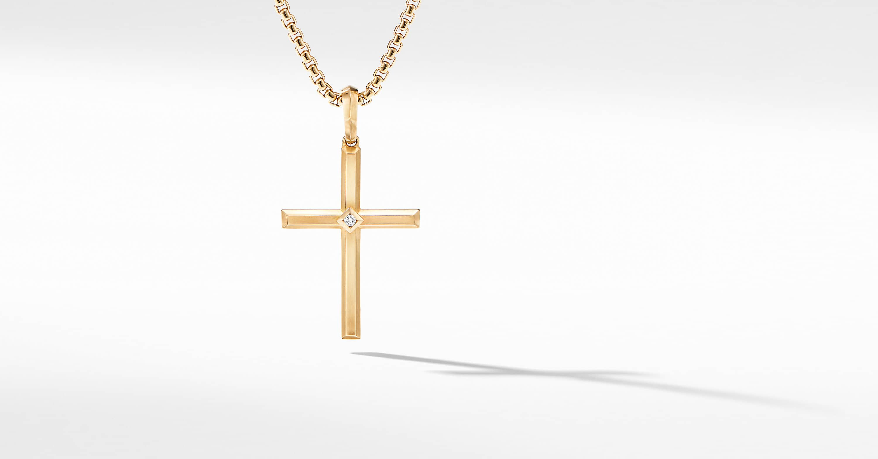 Modern Renaissance Cross Pendant in 18K Yellow Gold with Center Diamond