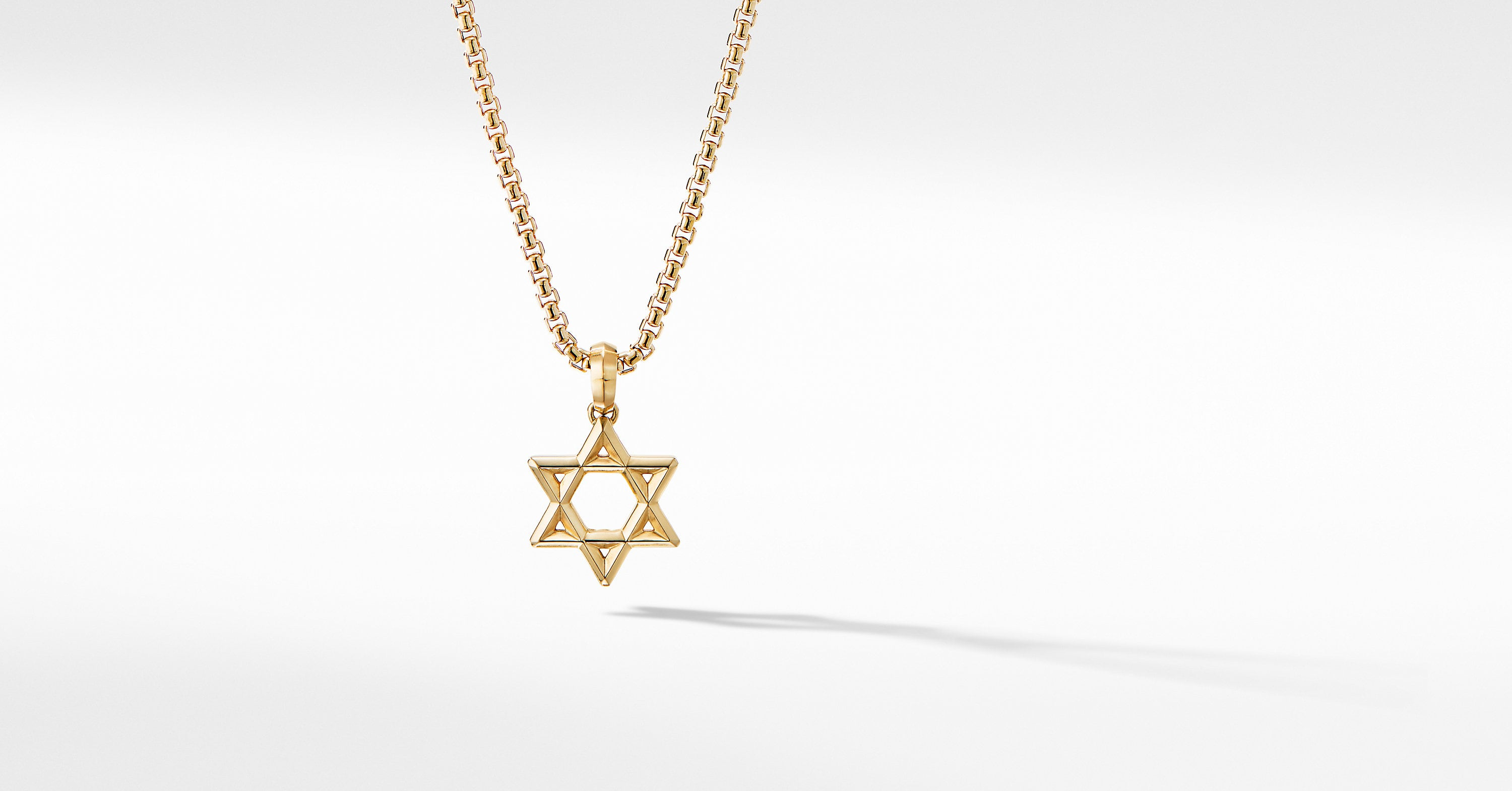 Modern Renaissance Star of David Pendant in 18K Yellow Gold