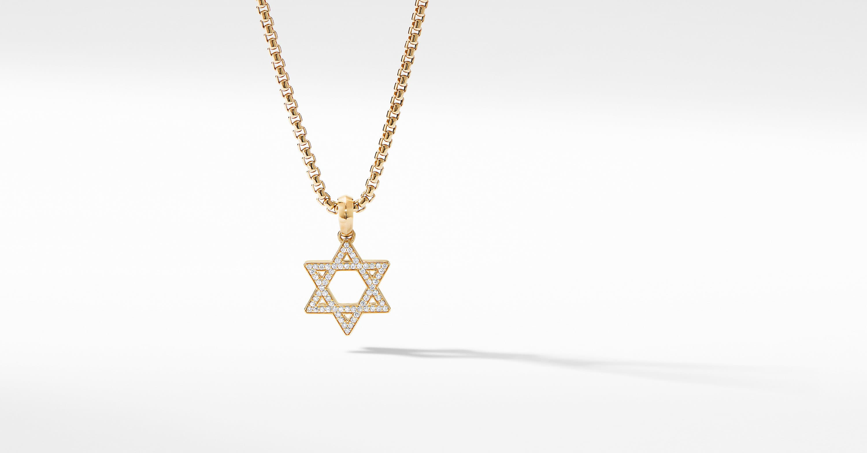 Modern Renaissance Star of David Pendant in 18K Yellow Gold with Diamonds