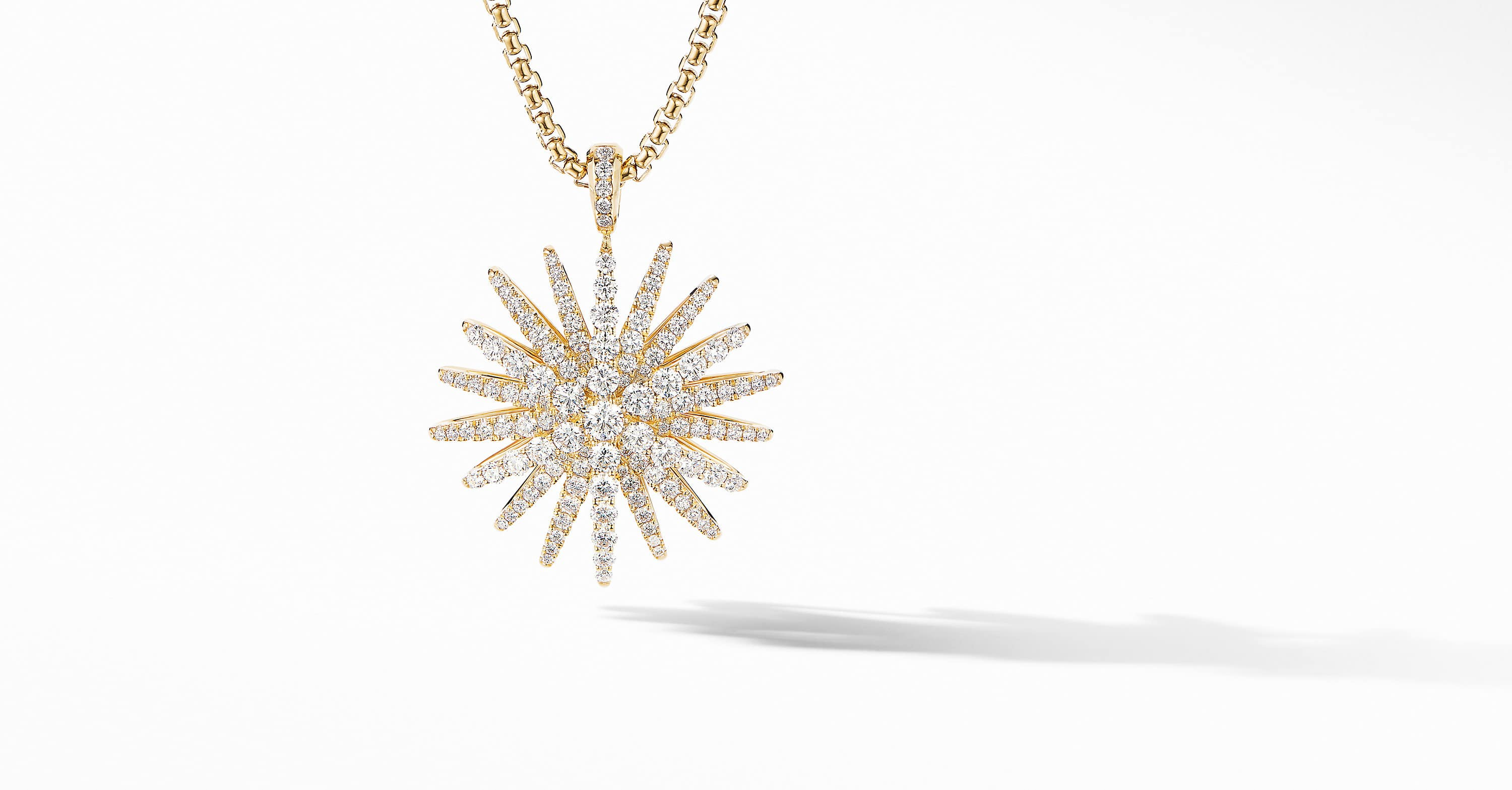 Starburst Pendant in 18K Yellow Gold with Full Pavé