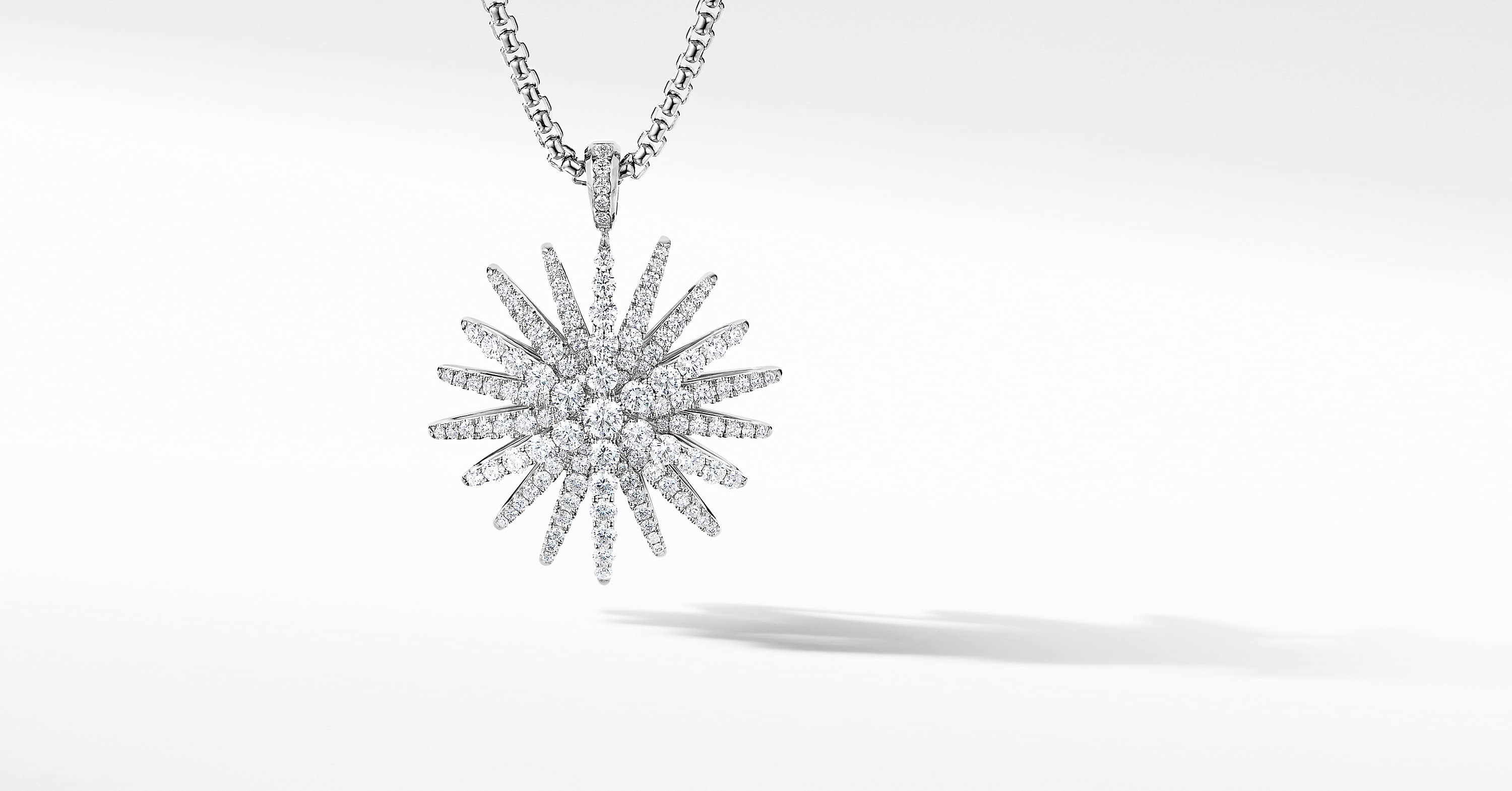 Starburst Pendant in 18K White Gold with Pavé