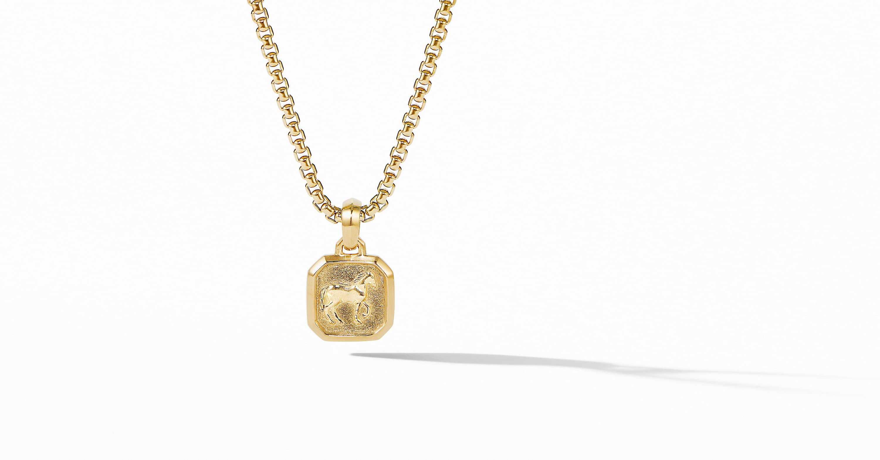 Petrvs Small Horse Pendant in 18K Yellow Gold